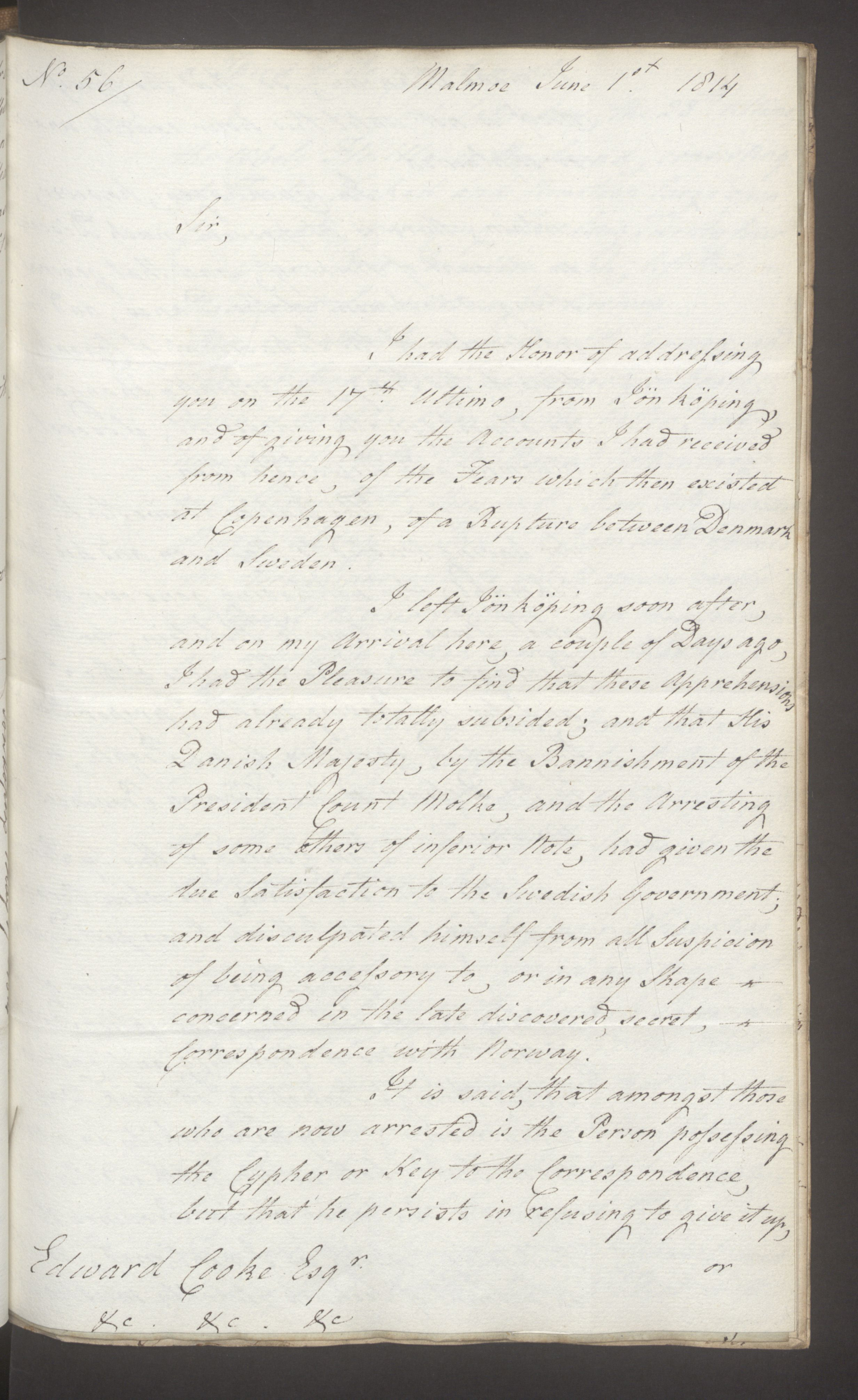 UKA, Foreign Office*, FO 38/16: Sir C. Gordon. Reports from Malmö, Jonkoping, and Helsingborg, 1814, s. 57