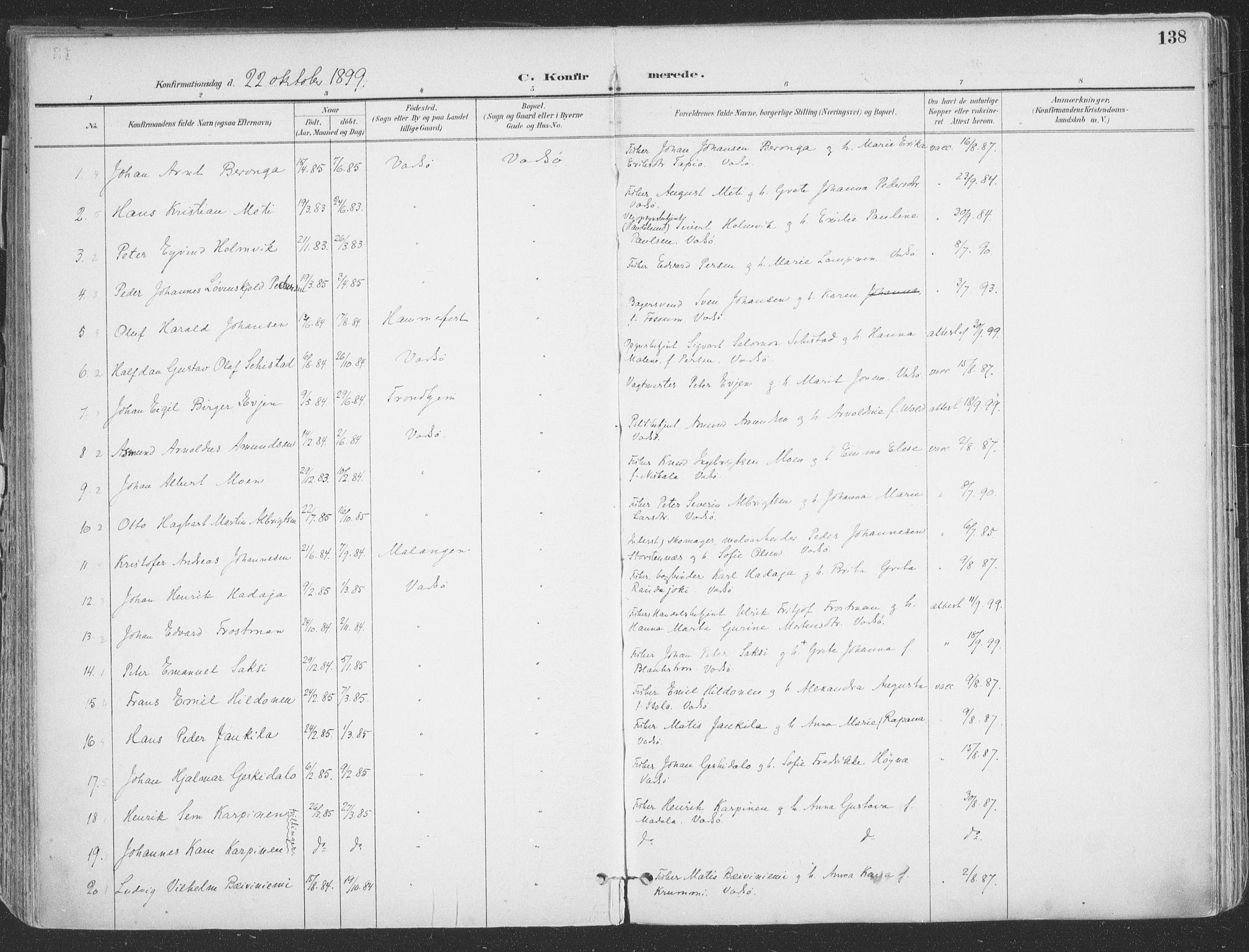 SATØ, Vadsø sokneprestkontor, H/Ha/L0007kirke: Ministerialbok nr. 7, 1896-1916, s. 138