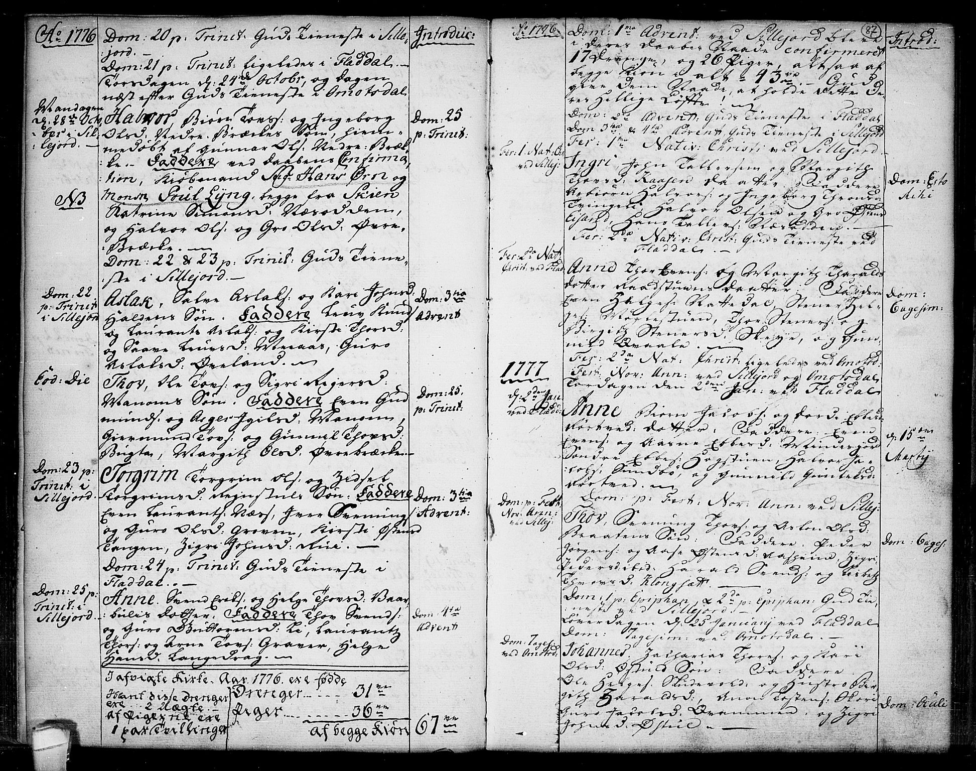 SAKO, Seljord kirkebøker, F/Fa/L0007: Ministerialbok nr. I 7, 1755-1800, s. 87