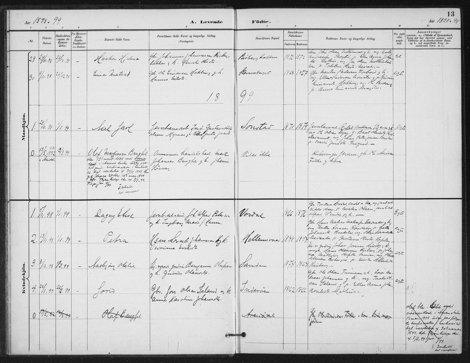 SAT, Ministerialprotokoller, klokkerbøker og fødselsregistre - Nord-Trøndelag, 714/L0131: Ministerialbok nr. 714A02, 1896-1918, s. 13