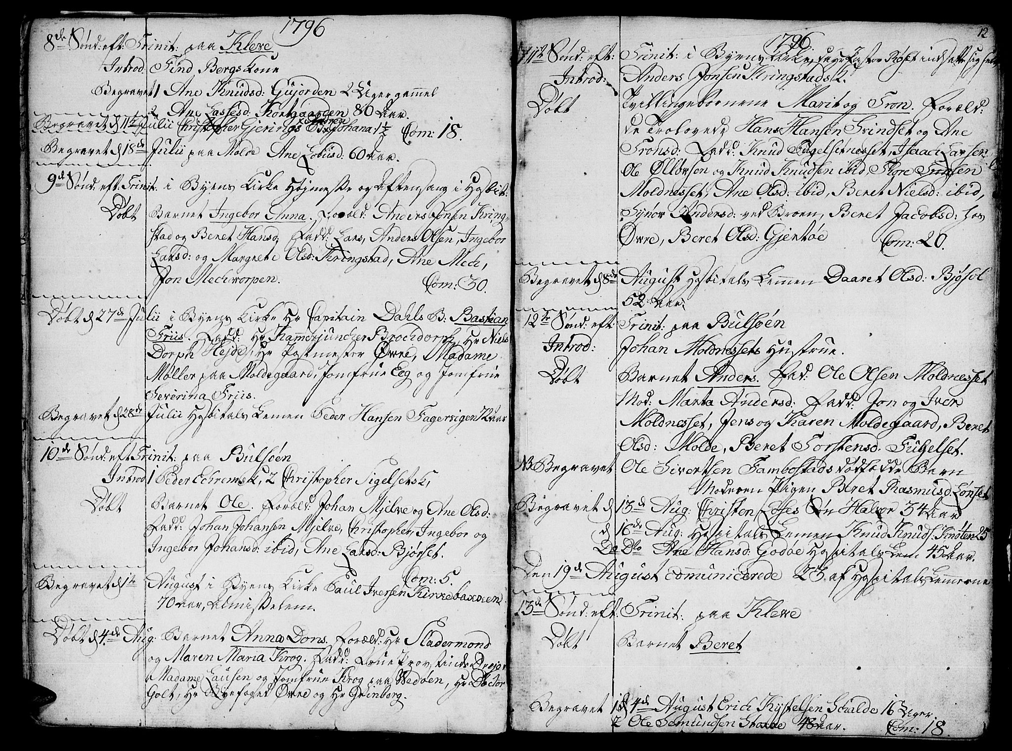 SAT, Ministerialprotokoller, klokkerbøker og fødselsregistre - Møre og Romsdal, 555/L0649: Ministerialbok nr. 555A02 /1, 1795-1821, s. 12