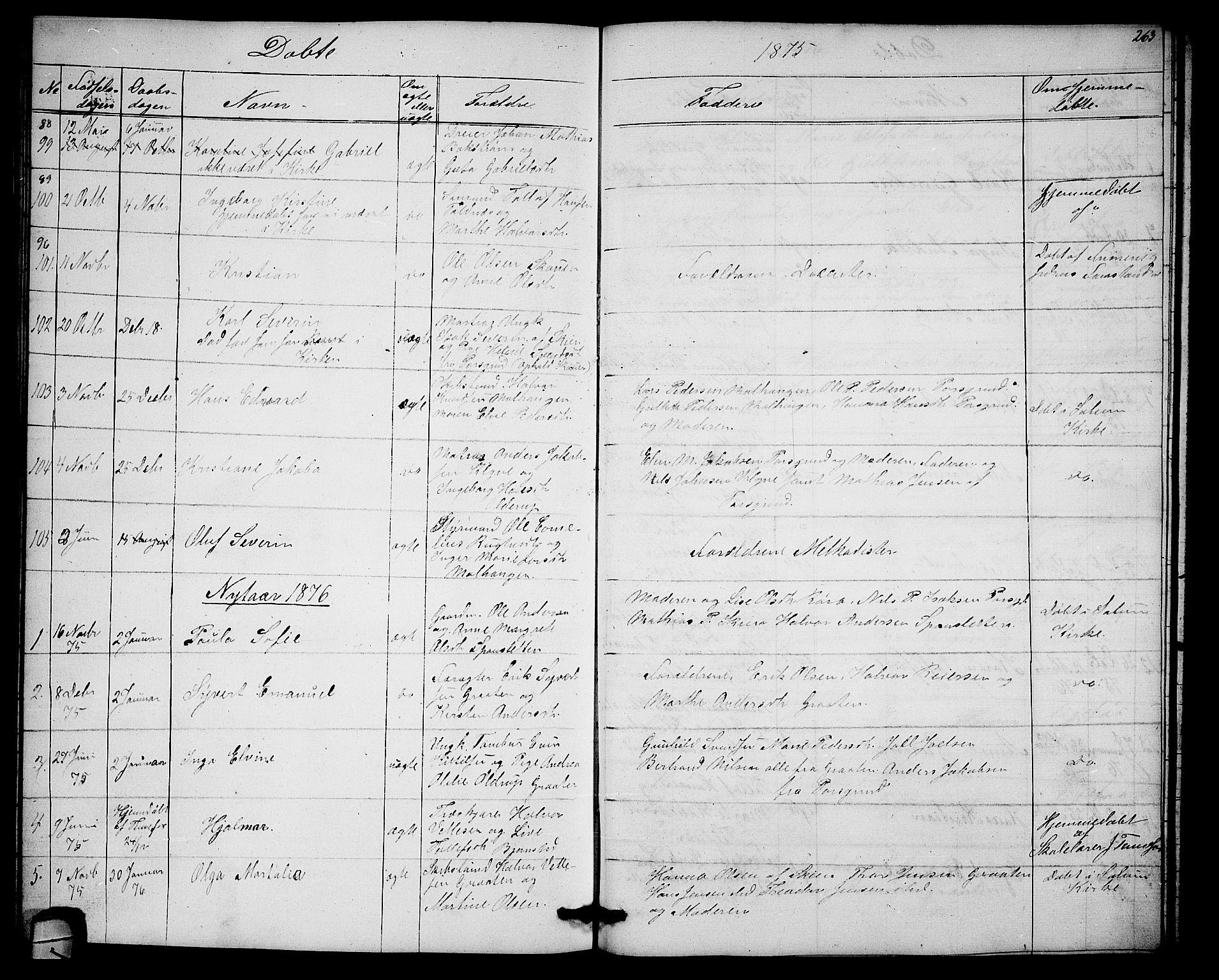 SAKO, Solum kirkebøker, G/Ga/L0004: Klokkerbok nr. I 4, 1859-1876, s. 263