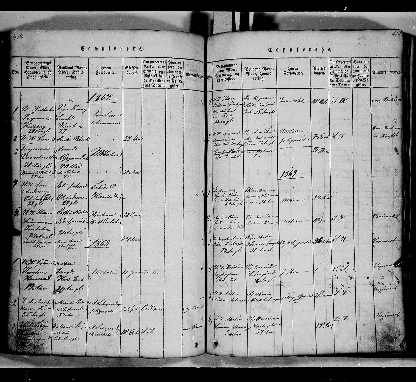 SAH, Gausdal prestekontor, Klokkerbok nr. 2, 1818-1874, s. 418-419