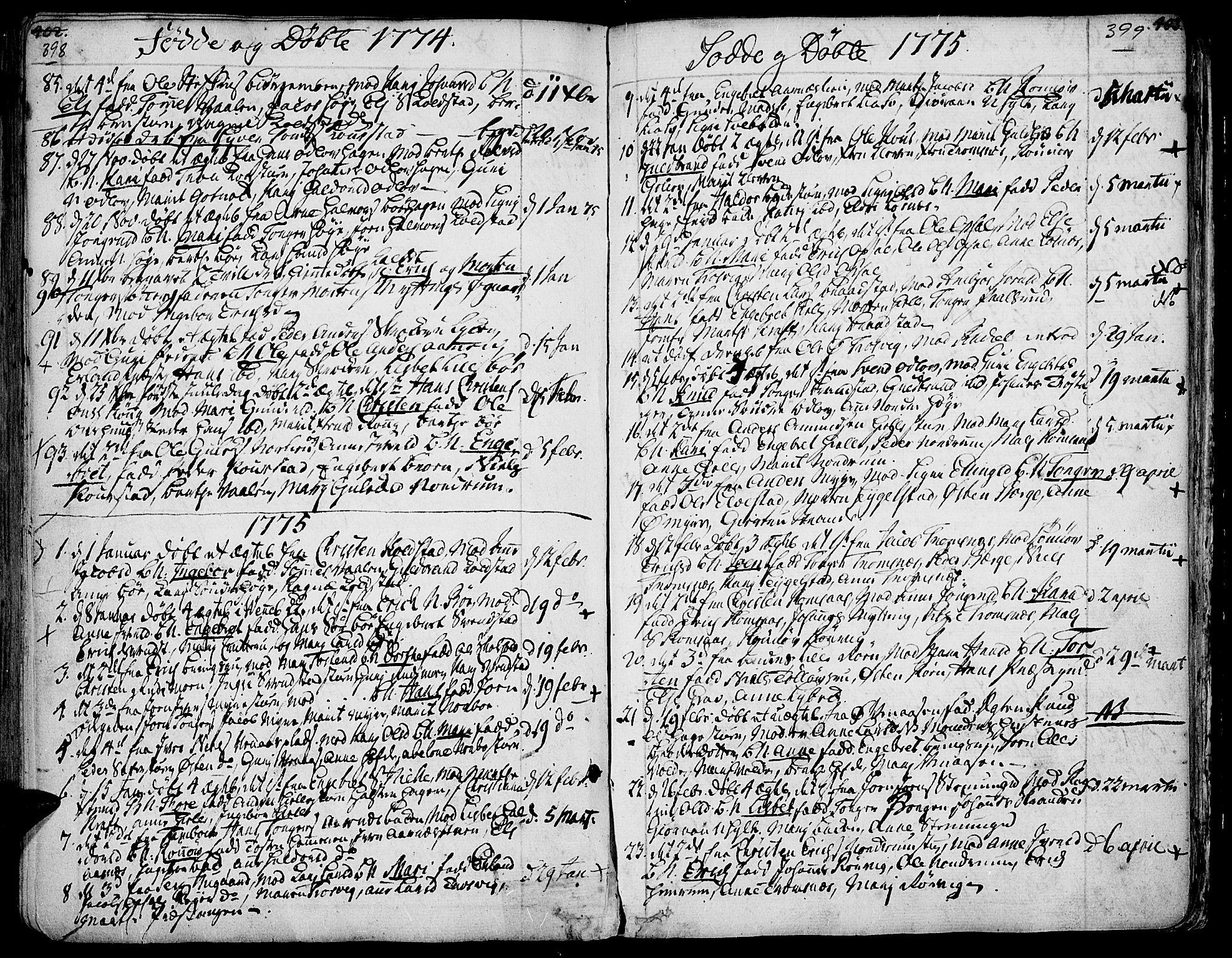 SAH, Ringebu prestekontor, Ministerialbok nr. 2, 1734-1780, s. 398-399