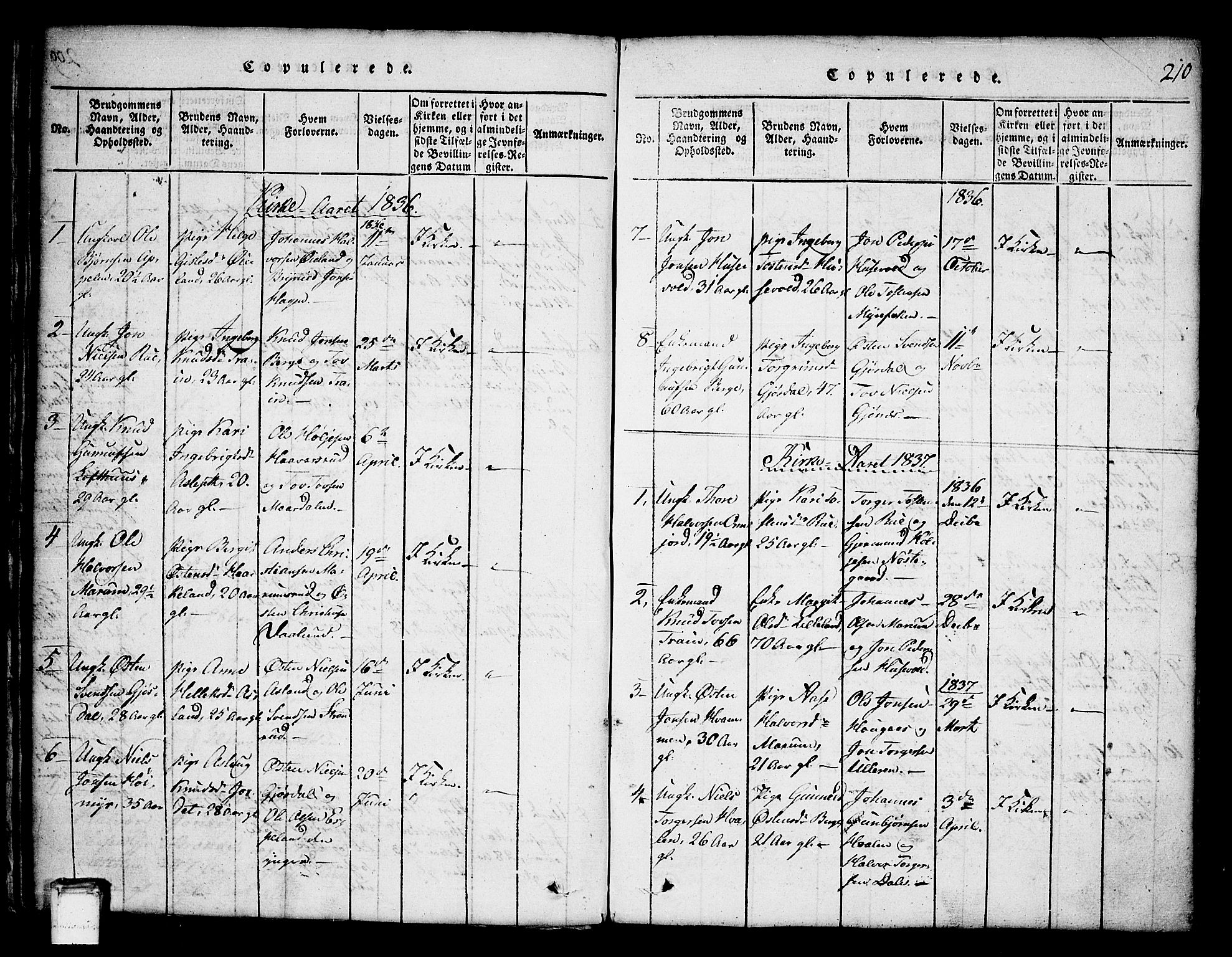 SAKO, Tinn kirkebøker, G/Ga/L0001: Klokkerbok nr. I 1, 1815-1850, s. 210