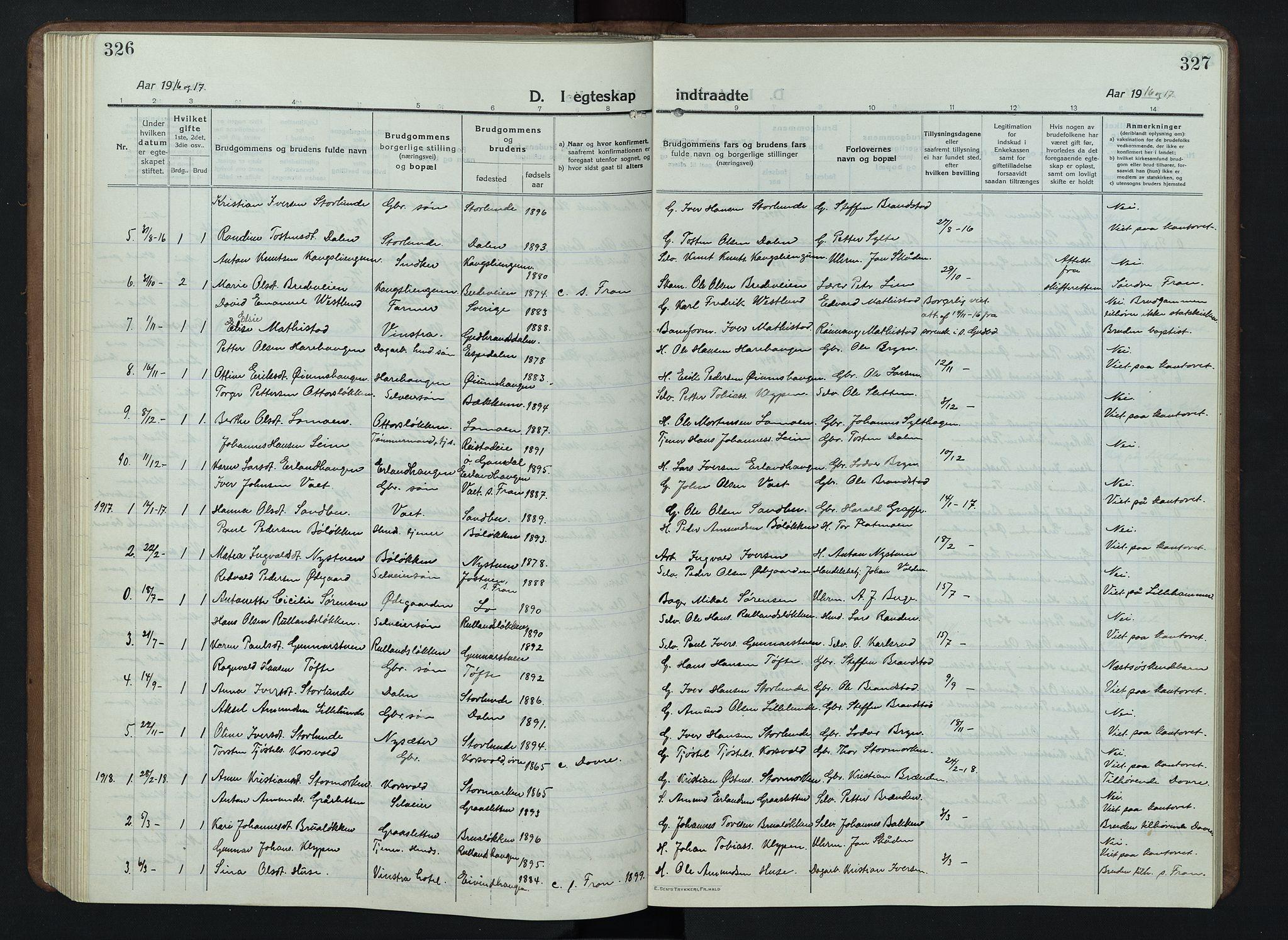 SAH, Nord-Fron prestekontor, Klokkerbok nr. 7, 1915-1946, s. 326-327