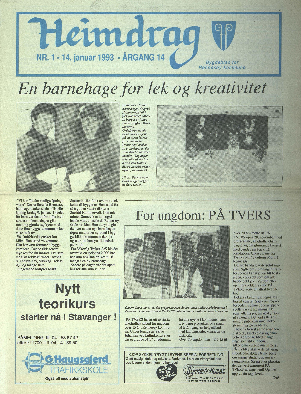 BYST, Rennesøy kommune. Heimdrag, lokalavis, X/Xa/L0015: Heimdrag 1993, 1993