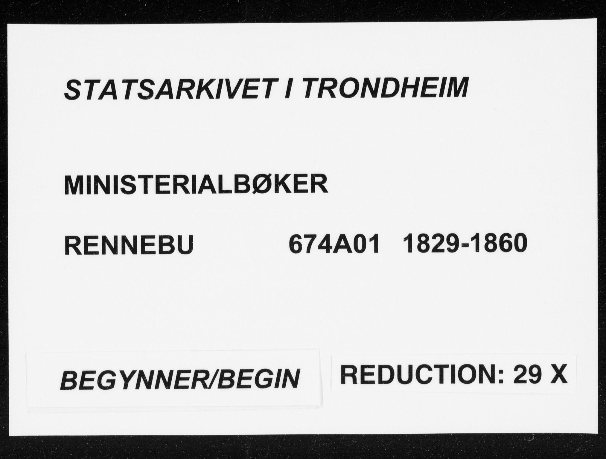 SAT, Ministerialprotokoller, klokkerbøker og fødselsregistre - Sør-Trøndelag, 674/L0869: Ministerialbok nr. 674A01, 1829-1860
