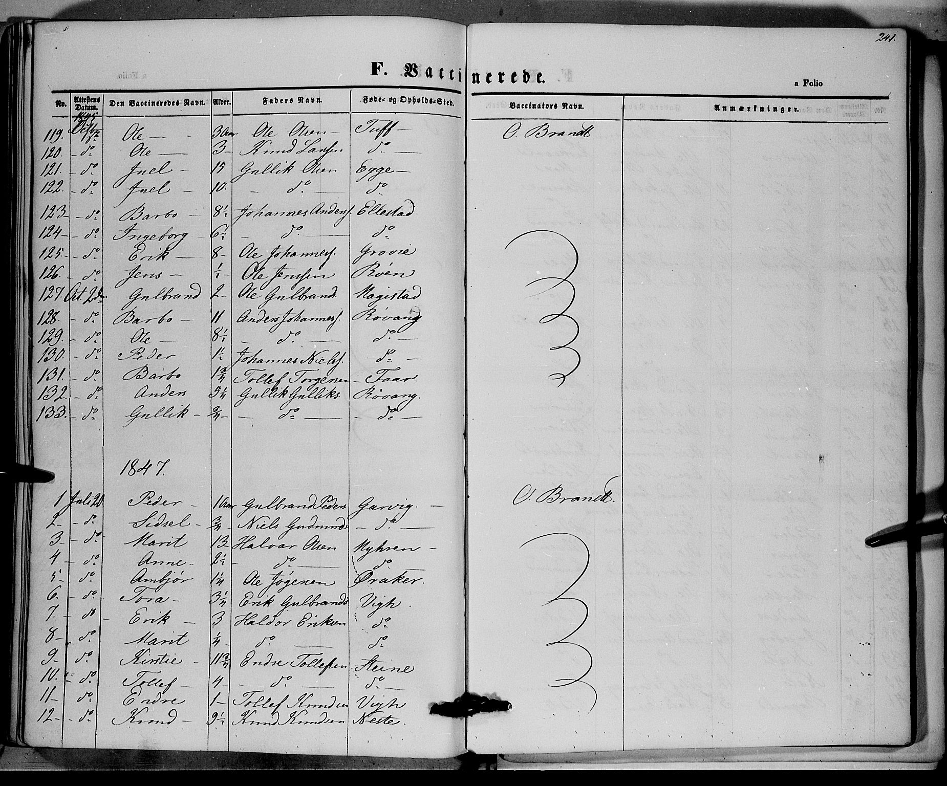 SAH, Vestre Slidre prestekontor, Ministerialbok nr. 1, 1844-1855, s. 241