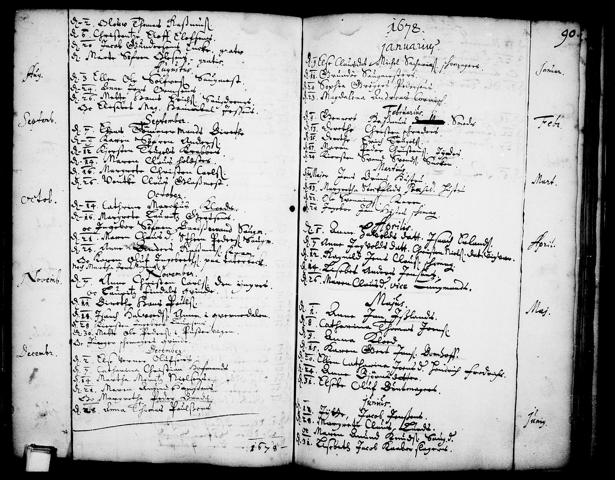 SAKO, Skien kirkebøker, F/Fa/L0001: Ministerialbok nr. 1, 1659-1679, s. 90