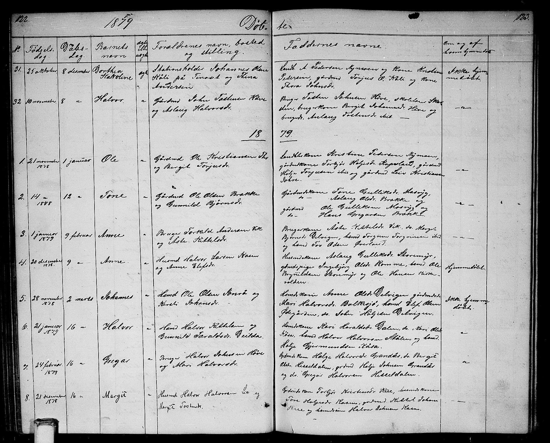 SAKO, Gransherad kirkebøker, G/Ga/L0002: Klokkerbok nr. I 2, 1854-1886, s. 122-123