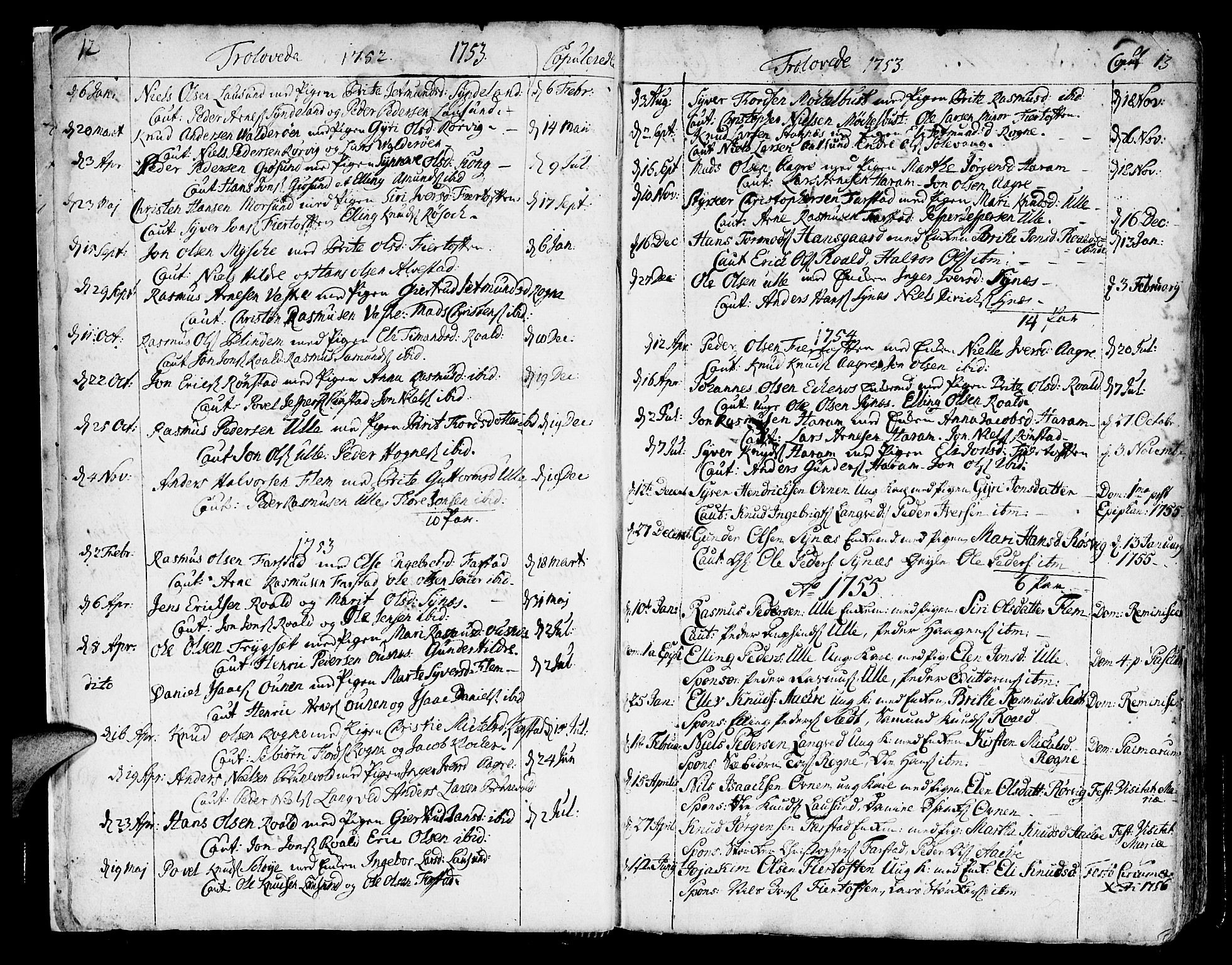 SAT, Ministerialprotokoller, klokkerbøker og fødselsregistre - Møre og Romsdal, 536/L0493: Ministerialbok nr. 536A02, 1739-1802, s. 12-13