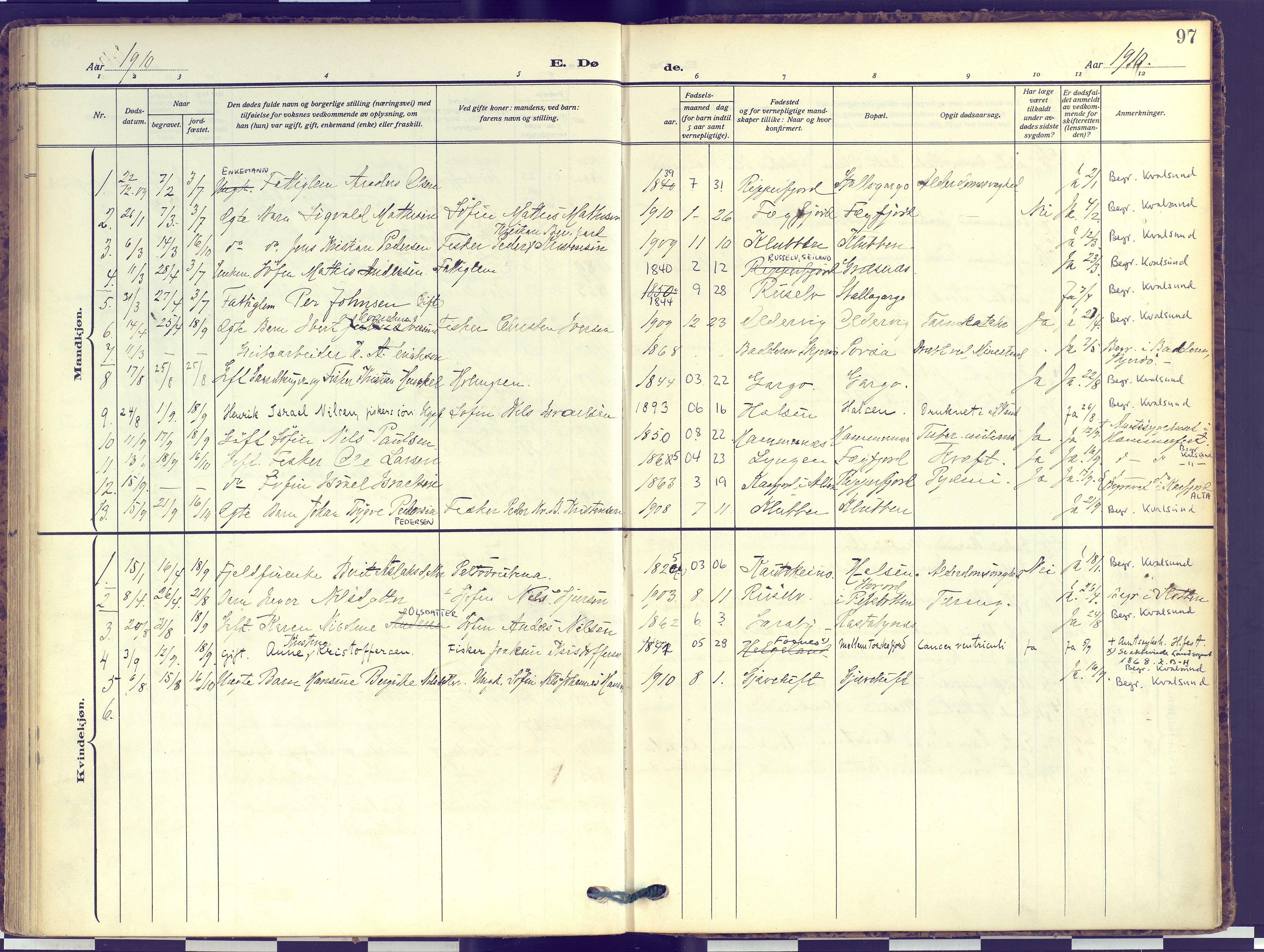 SATØ, Hammerfest sokneprestembete, Ministerialbok nr. 16, 1908-1923, s. 97