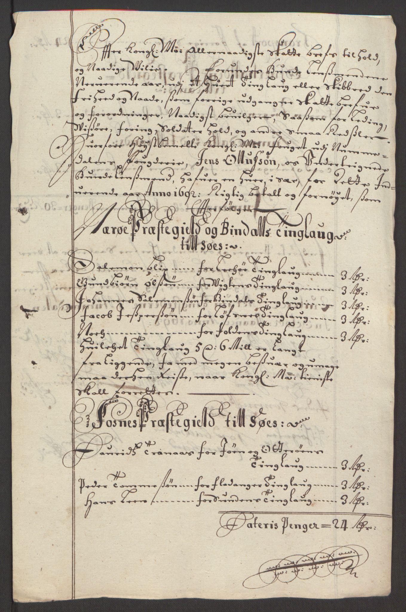RA, Rentekammeret inntil 1814, Reviderte regnskaper, Fogderegnskap, R64/L4424: Fogderegnskap Namdal, 1692-1695, s. 142