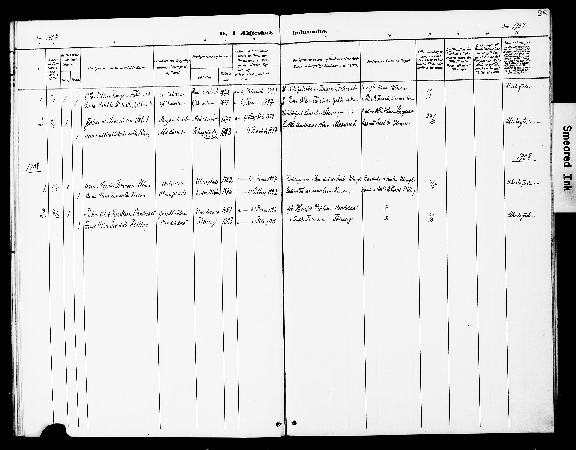 SAT, Ministerialprotokoller, klokkerbøker og fødselsregistre - Nord-Trøndelag, 748/L0464: Ministerialbok nr. 748A01, 1900-1908, s. 28