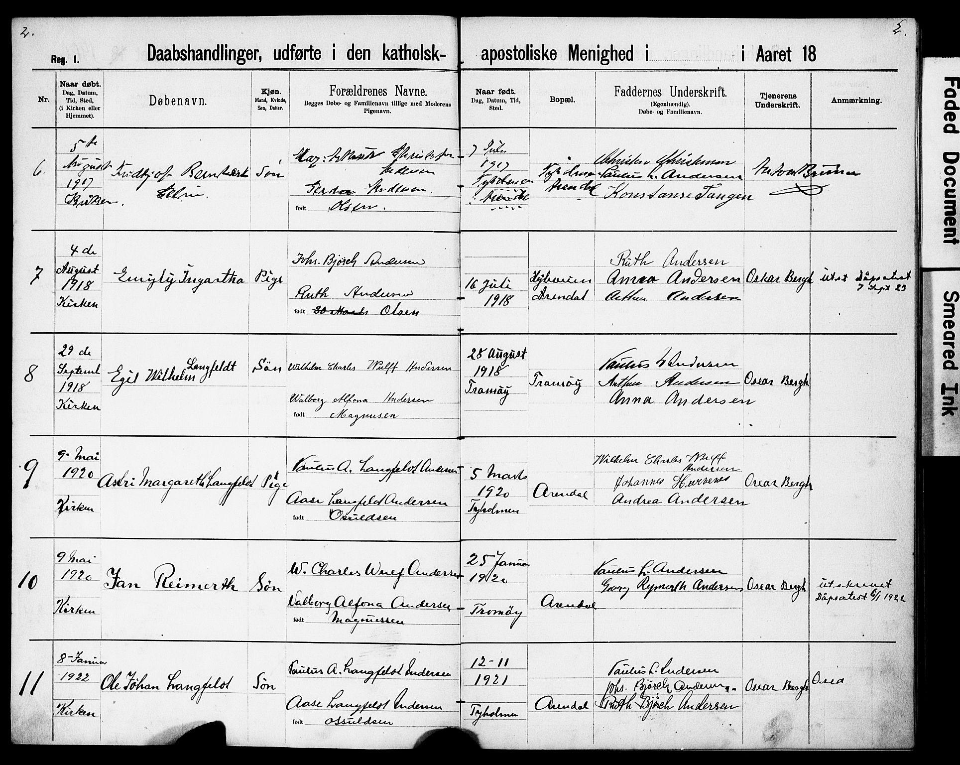 SAK, Den katolsk-apostoliske menighet, Arendal, F/Fa/L0001: Dissenterprotokoll nr. F 8, 1889-1928, s. 2