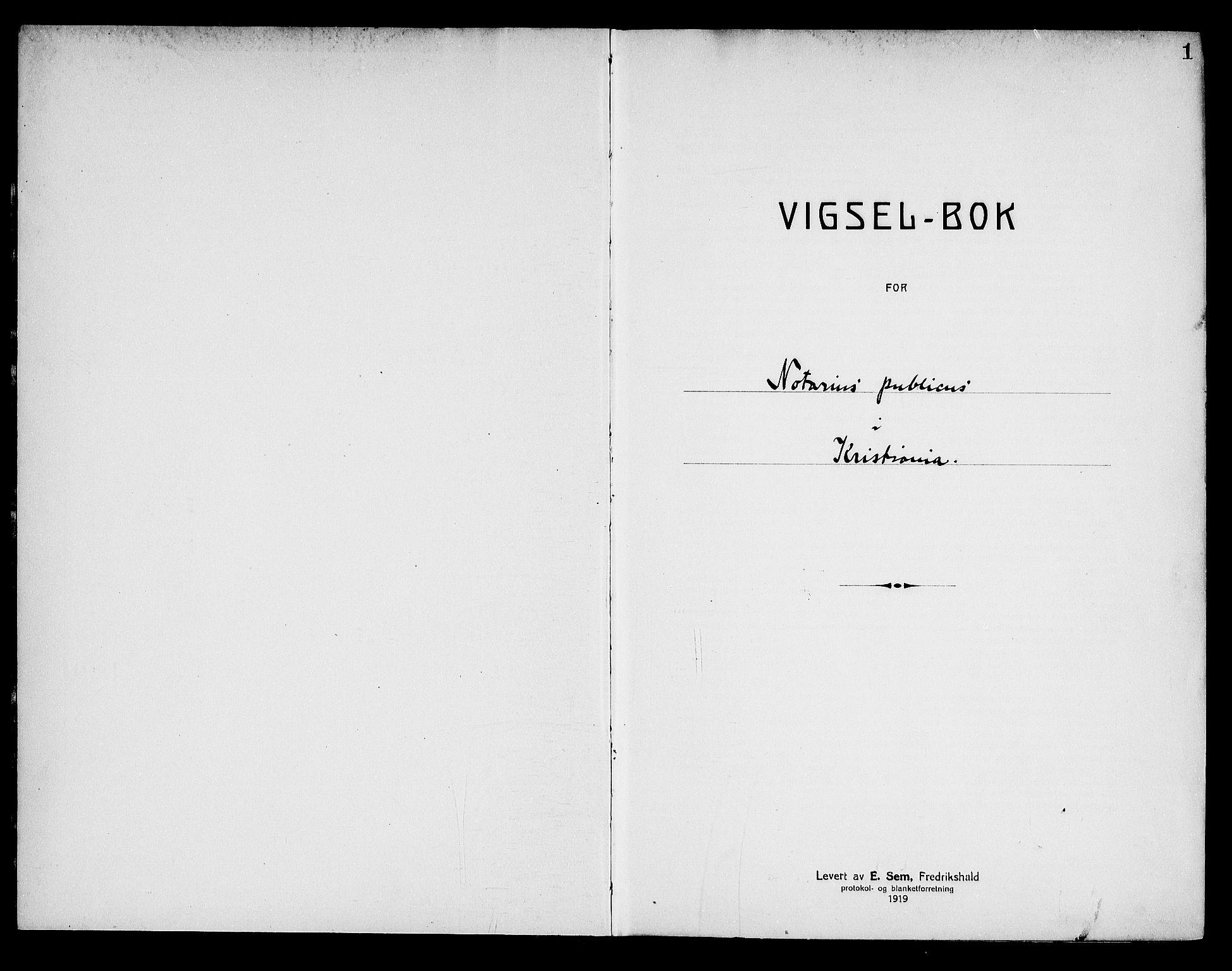 SAO, Oslo byfogd avd. I, L/Lb/Lbb/L0014: Notarialprotokoll, rekke II: Vigsler, 1920-1921, s. 1a