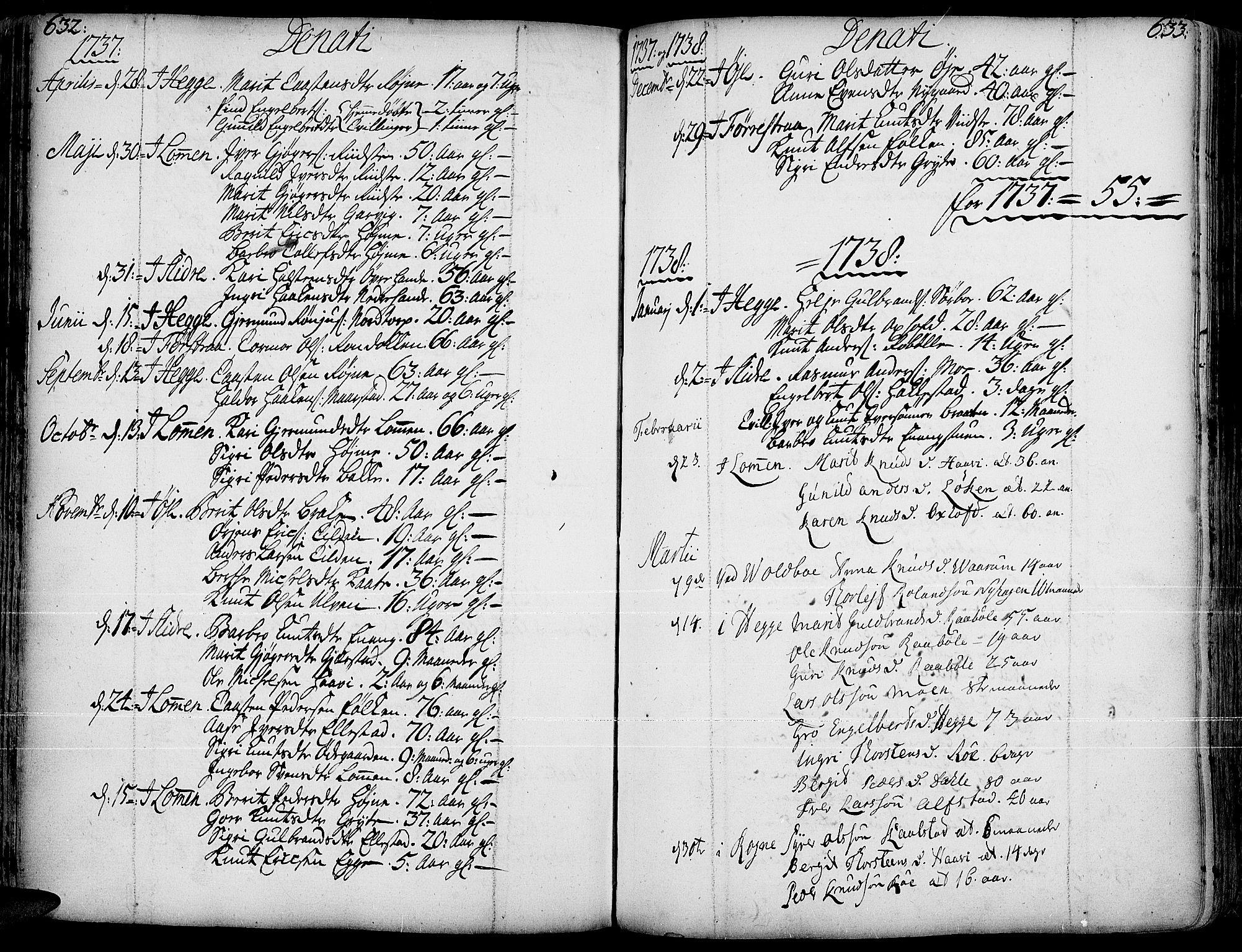 SAH, Slidre prestekontor, Ministerialbok nr. 1, 1724-1814, s. 632-633