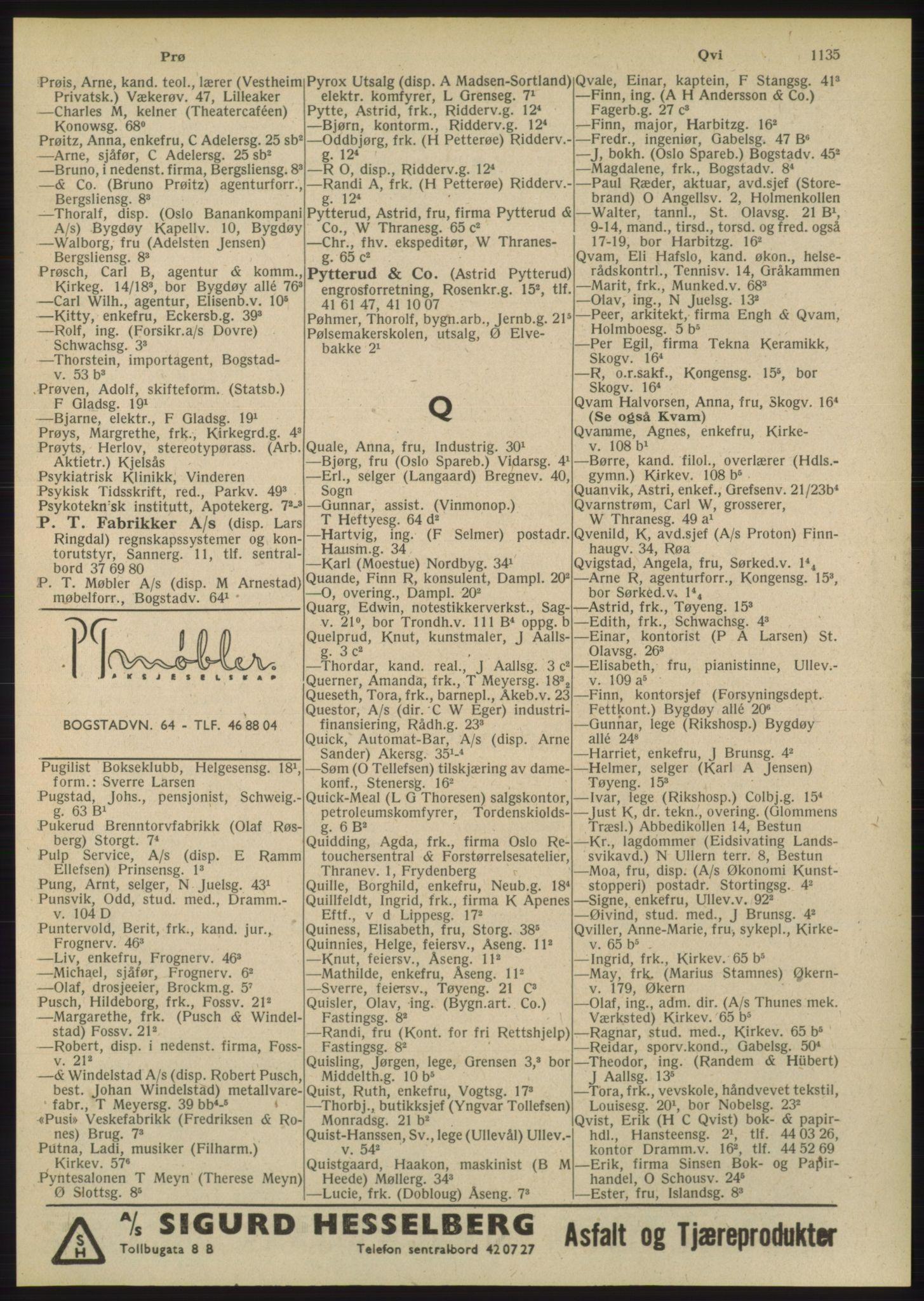 RA, Oslo adressebok (publikasjon)*, 1948, s. 1135