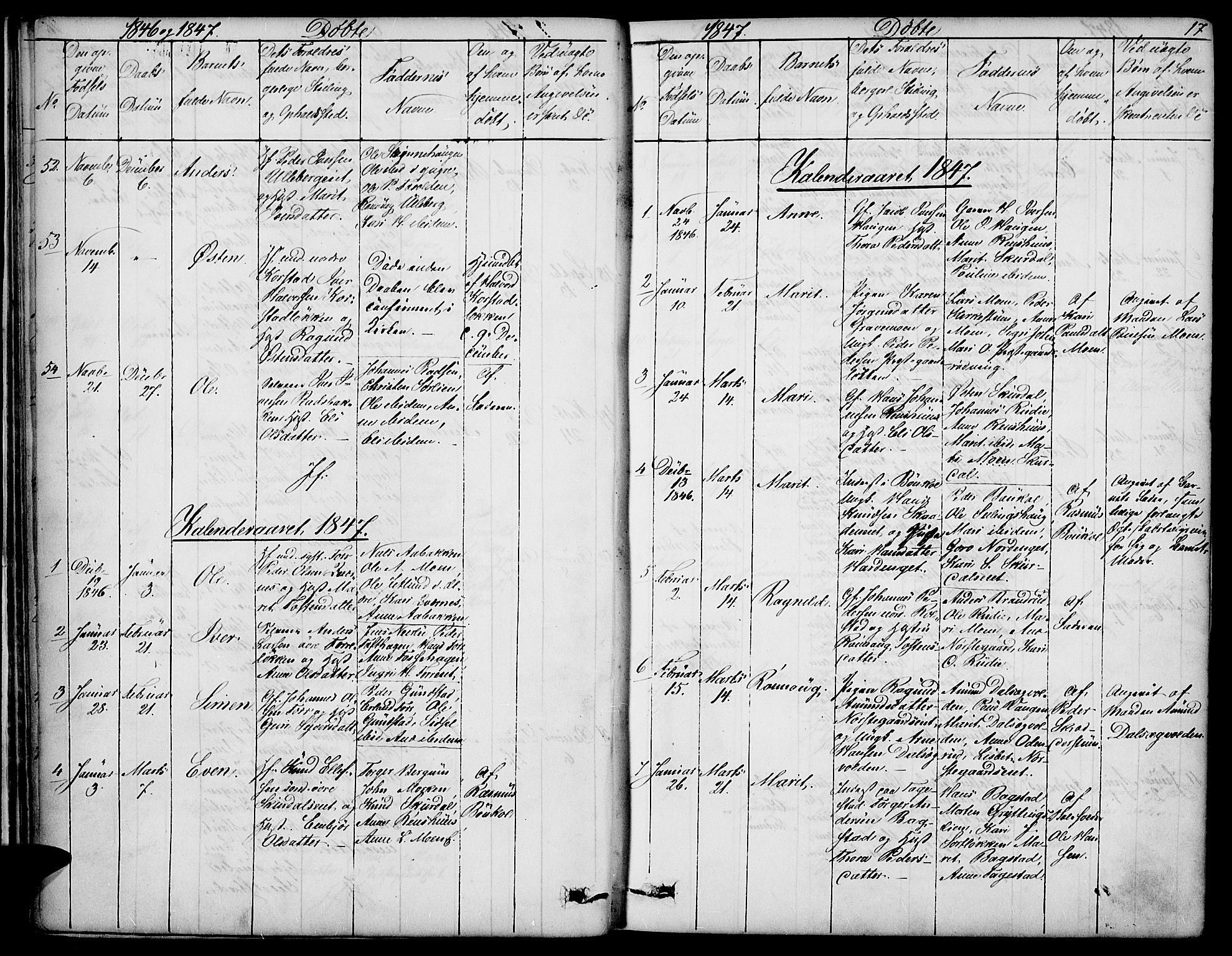 SAH, Sør-Fron prestekontor, H/Ha/Hab/L0001: Klokkerbok nr. 1, 1844-1863, s. 17
