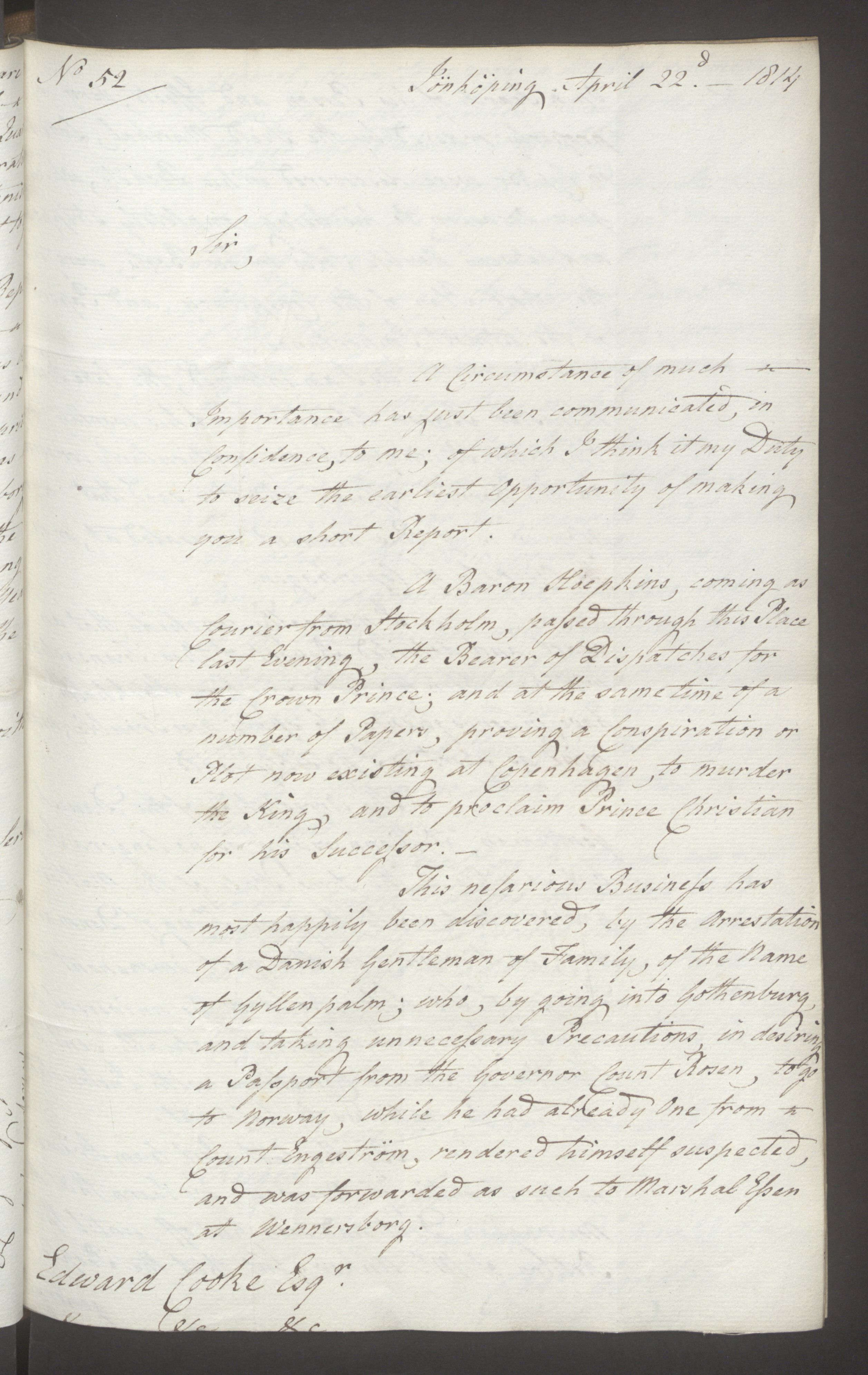 UKA, Foreign Office*, FO 38/16: Sir C. Gordon. Reports from Malmö, Jonkoping, and Helsingborg, 1814, s. 34