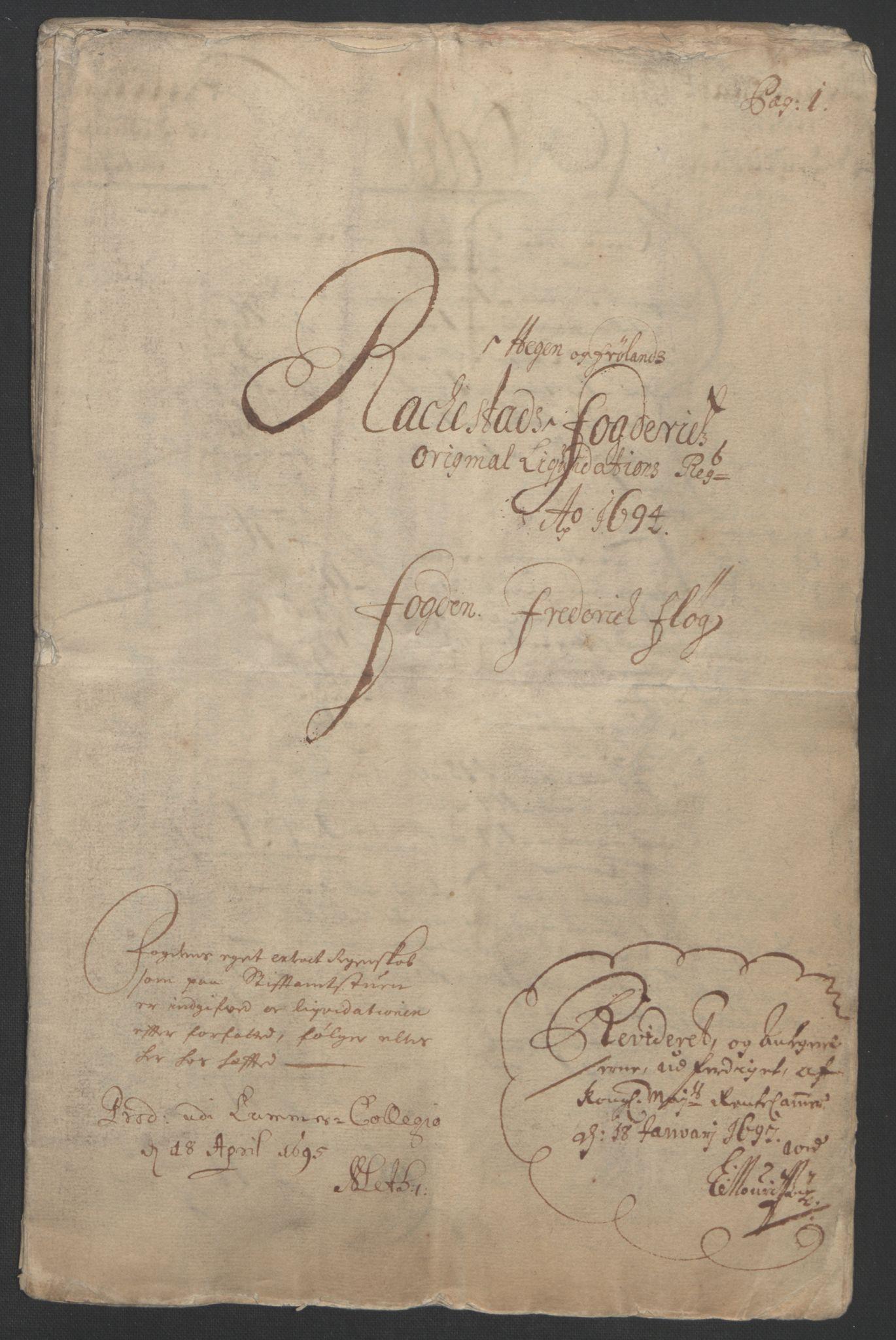 RA, Rentekammeret inntil 1814, Reviderte regnskaper, Fogderegnskap, R07/L0284: Fogderegnskap Rakkestad, Heggen og Frøland, 1694, s. 4
