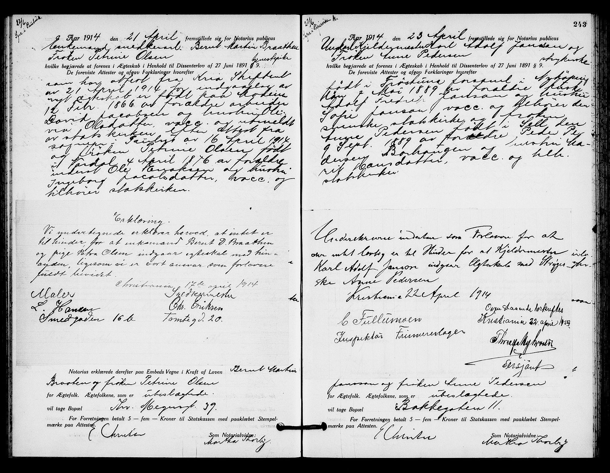SAO, Oslo byfogd avd. I, L/Lb/Lbb/L0009: Notarialprotokoll, rekke II: Vigsler, 1913-1914, s. 242b-243a
