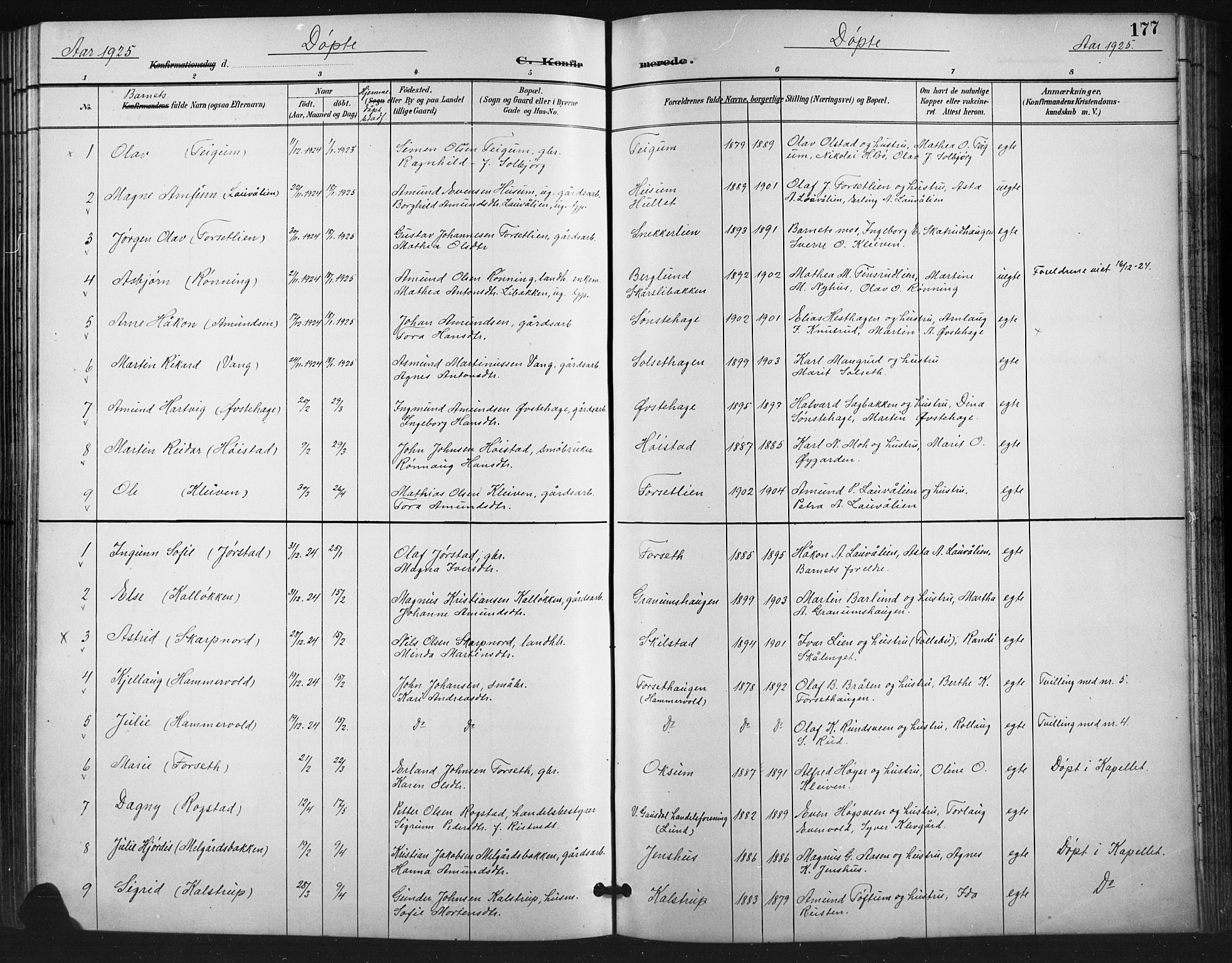SAH, Vestre Gausdal prestekontor, Klokkerbok nr. 3, 1896-1925, s. 177