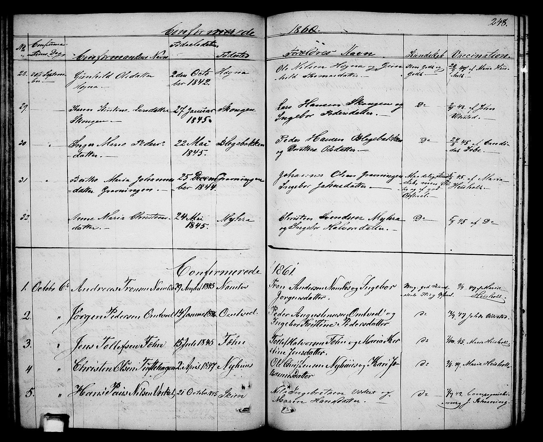 SAKO, Holla kirkebøker, G/Ga/L0003: Klokkerbok nr. I 3, 1849-1866, s. 248