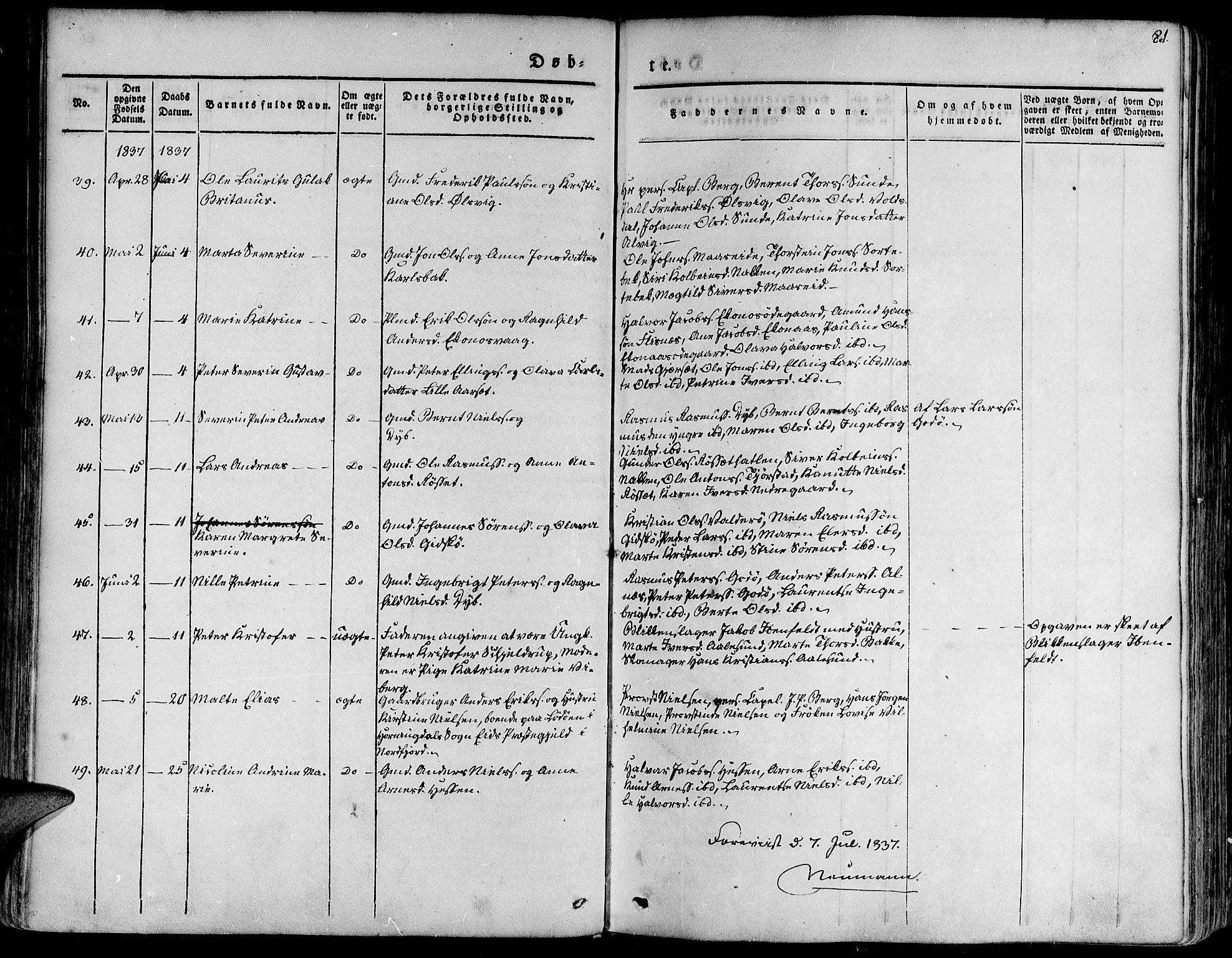 SAT, Ministerialprotokoller, klokkerbøker og fødselsregistre - Møre og Romsdal, 528/L0395: Ministerialbok nr. 528A06, 1828-1839, s. 81