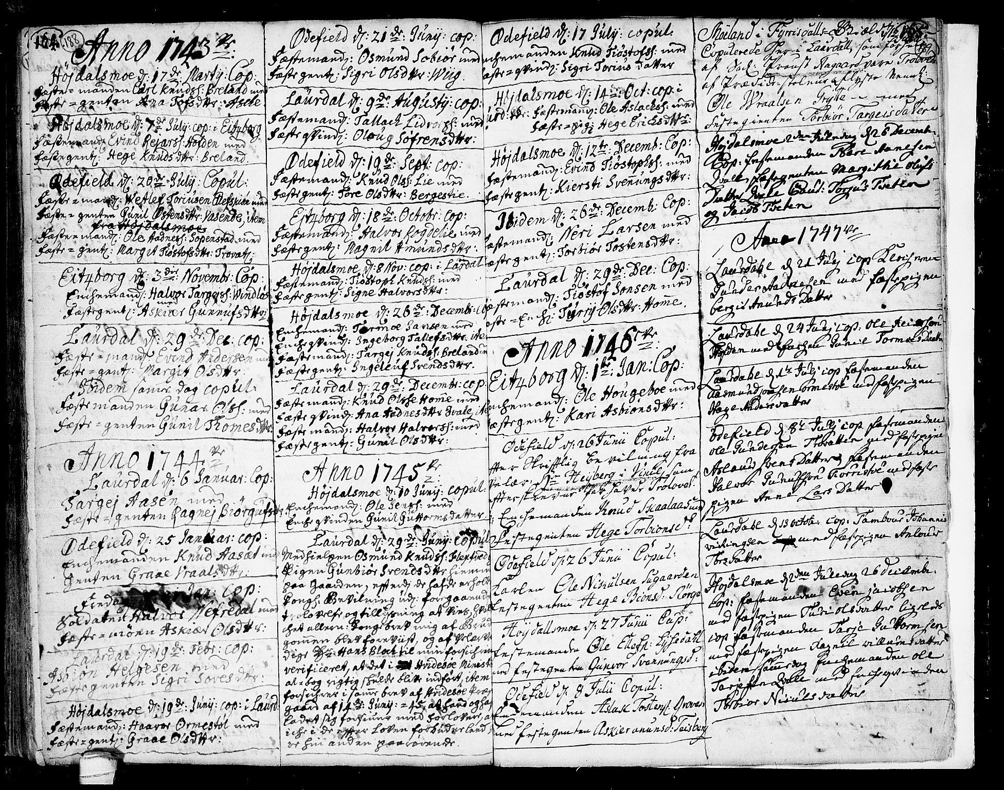 SAKO, Lårdal kirkebøker, F/Fa/L0002: Ministerialbok nr. I 2, 1734-1754, s. 188-189