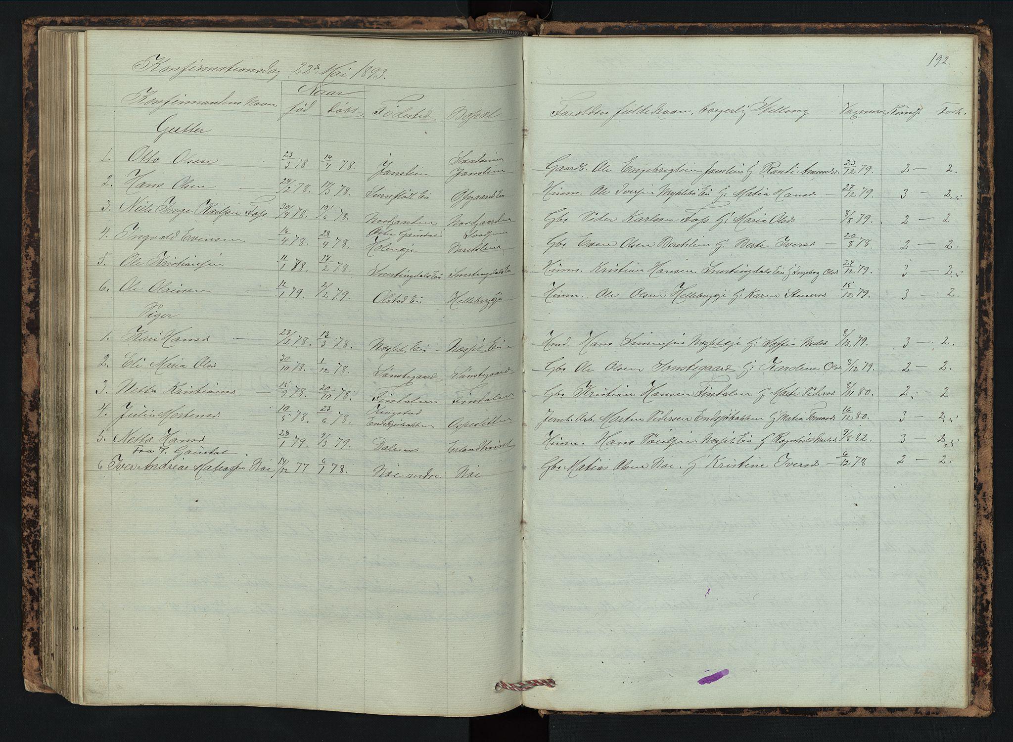 SAH, Vestre Gausdal prestekontor, Klokkerbok nr. 2, 1874-1897, s. 192
