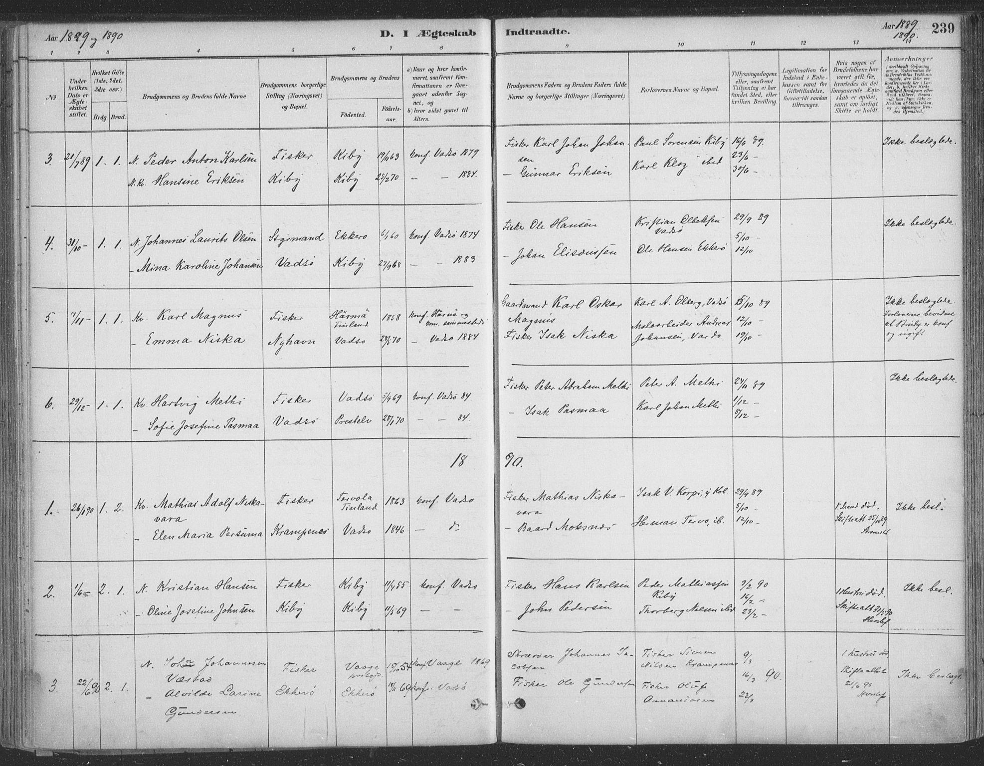 SATØ, Vadsø sokneprestkontor, H/Ha/L0009kirke: Ministerialbok nr. 9, 1881-1917, s. 239