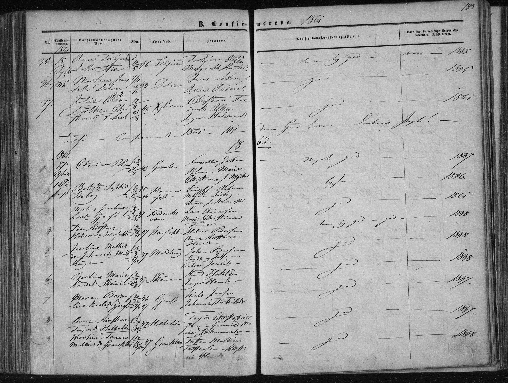 SAKO, Solum kirkebøker, F/Fa/L0007: Ministerialbok nr. I 7, 1856-1864, s. 183