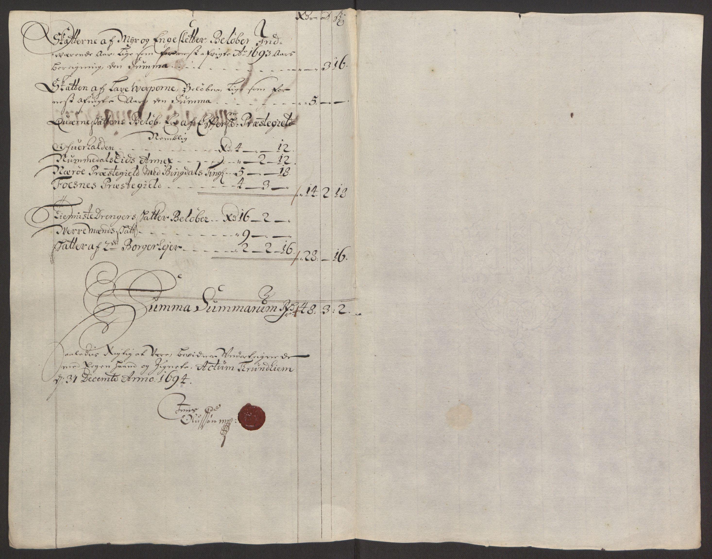 RA, Rentekammeret inntil 1814, Reviderte regnskaper, Fogderegnskap, R64/L4424: Fogderegnskap Namdal, 1692-1695, s. 342