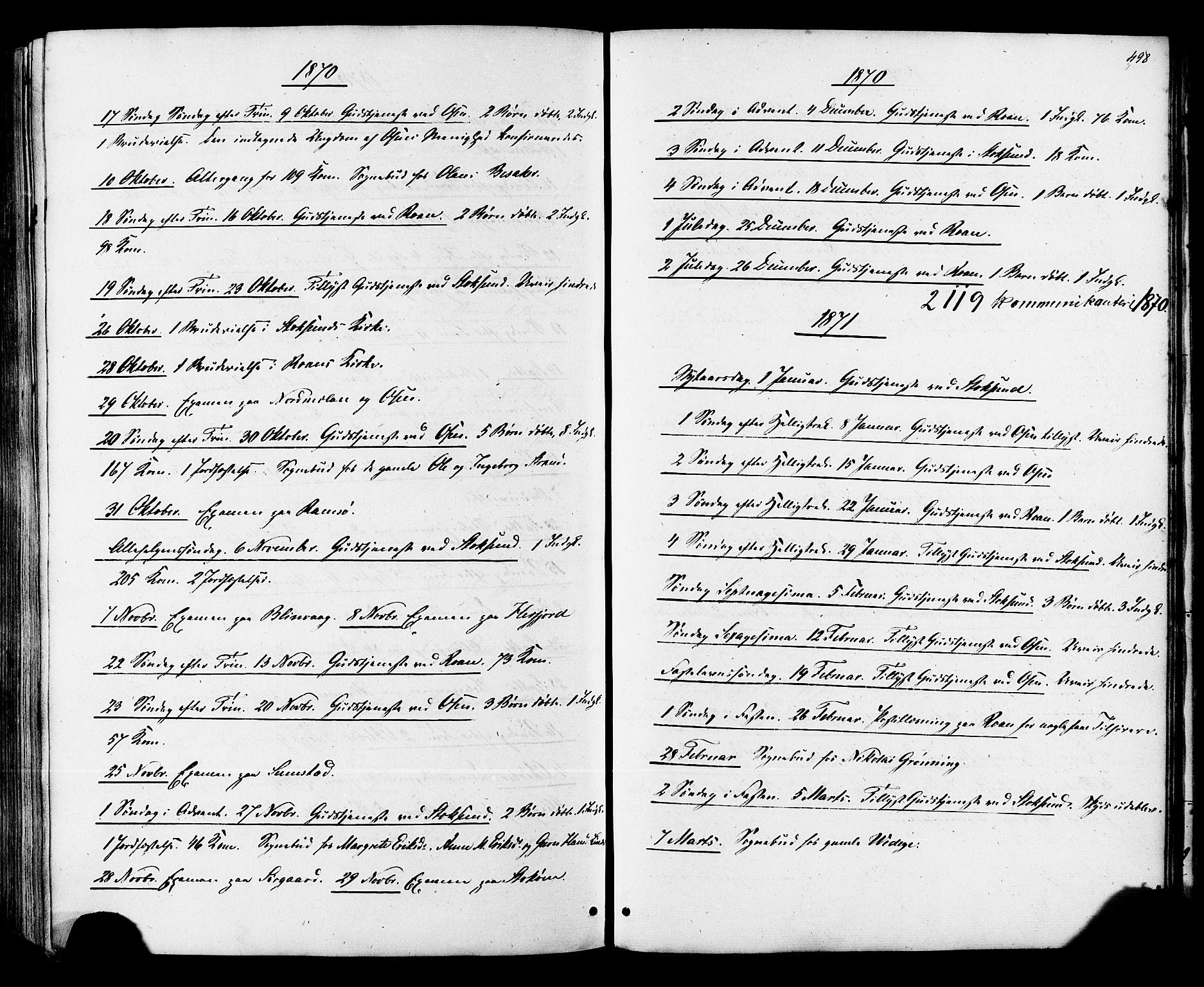 SAT, Ministerialprotokoller, klokkerbøker og fødselsregistre - Sør-Trøndelag, 657/L0706: Ministerialbok nr. 657A07, 1867-1878, s. 498