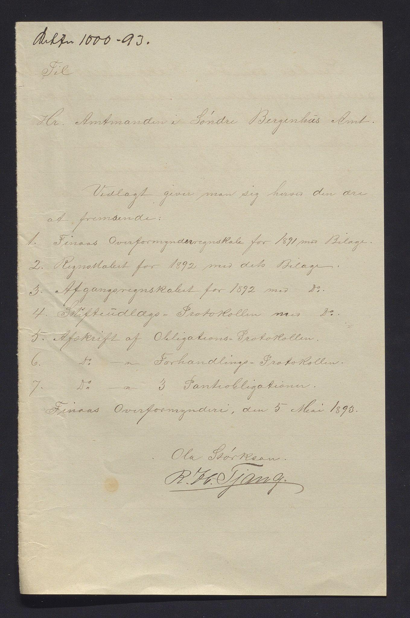 IKAH, Finnaas kommune. Overformynderiet, R/Ra/Raa/L0006: Årlege rekneskap m/vedlegg, 1892
