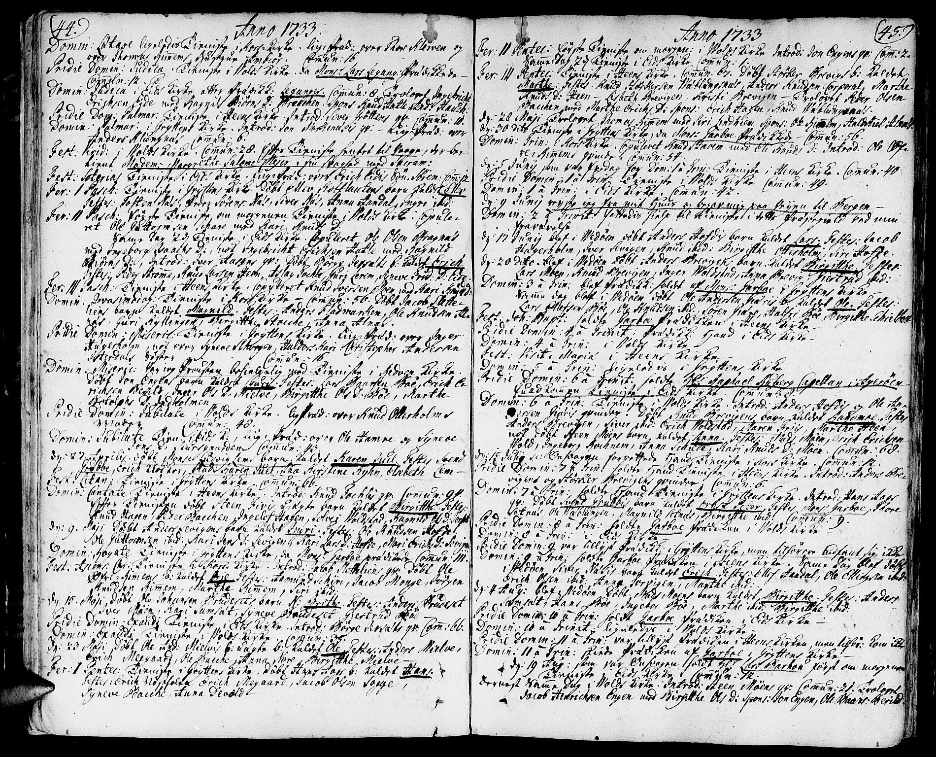 SAT, Ministerialprotokoller, klokkerbøker og fødselsregistre - Møre og Romsdal, 544/L0568: Ministerialbok nr. 544A01, 1725-1763, s. 44-45