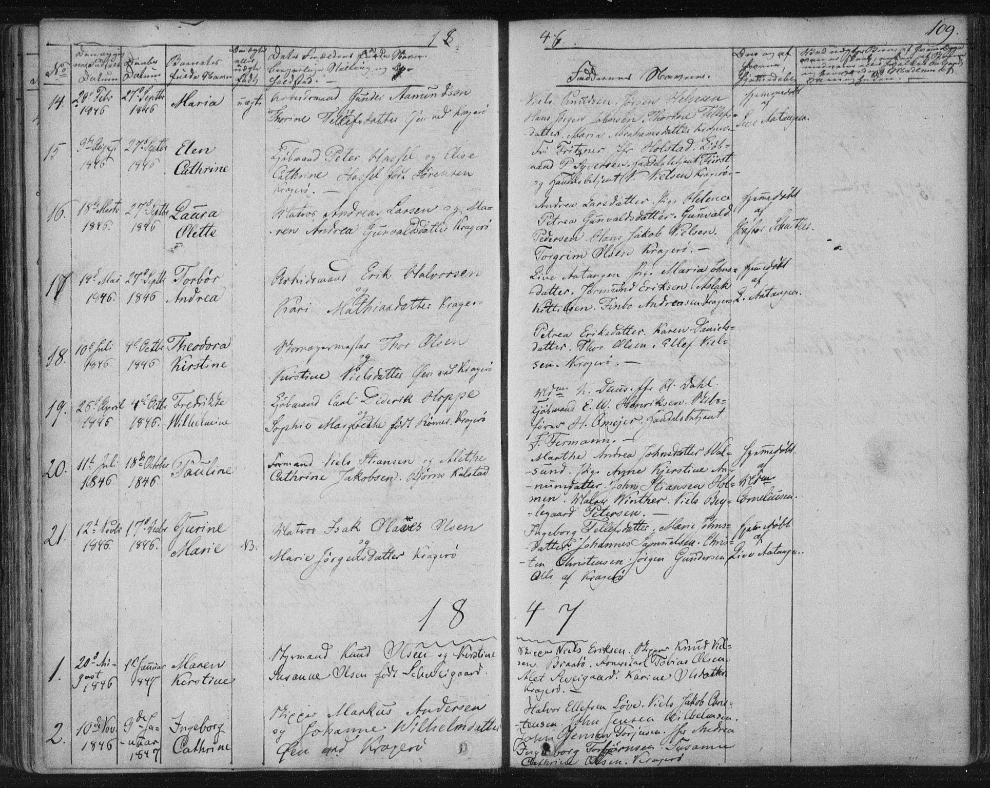 SAKO, Kragerø kirkebøker, F/Fa/L0005: Ministerialbok nr. 5, 1832-1847, s. 109