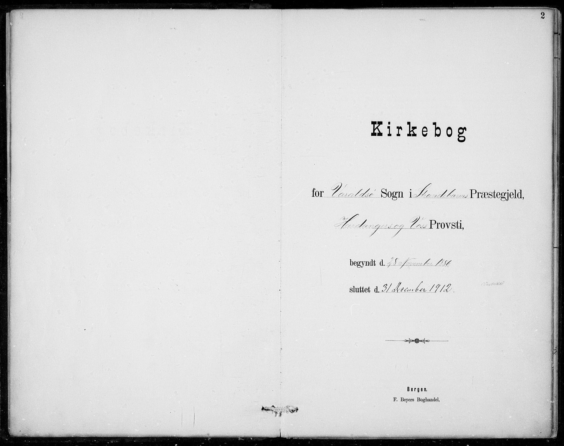 SAB, Strandebarm sokneprestembete, H/Haa: Ministerialbok nr. D  1, 1886-1912, s. 2