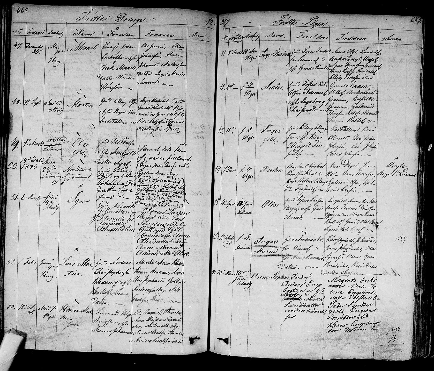 SAKO, Norderhov kirkebøker, F/Fa/L0009: Ministerialbok nr. 9, 1819-1837, s. 664-665