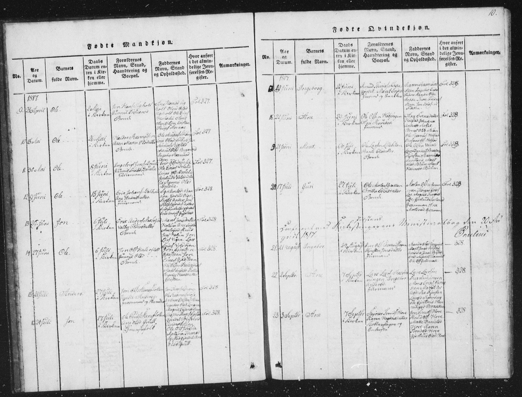 SAT, Ministerialprotokoller, klokkerbøker og fødselsregistre - Sør-Trøndelag, 672/L0862: Klokkerbok nr. 672C01, 1816-1831, s. 10