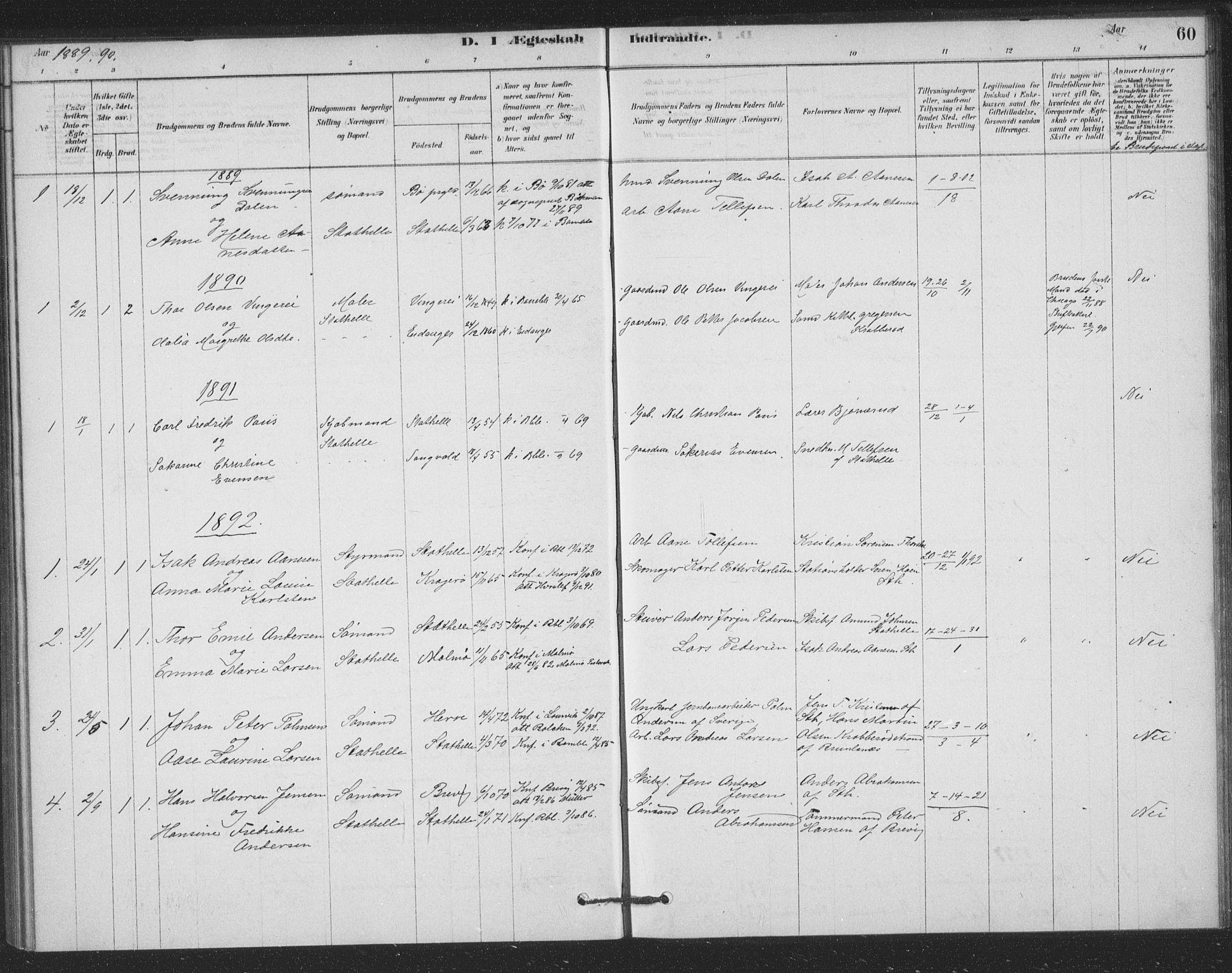 SAKO, Bamble kirkebøker, F/Fb/L0001: Ministerialbok nr. II 1, 1878-1899, s. 60
