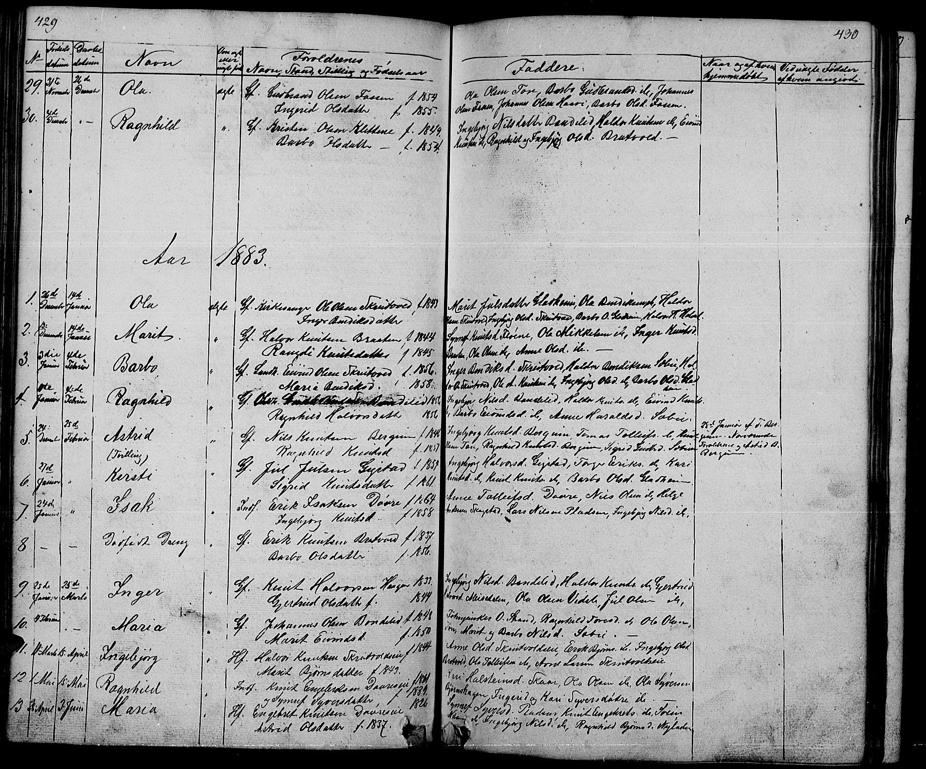 SAH, Nord-Aurdal prestekontor, Klokkerbok nr. 1, 1834-1887, s. 429-430