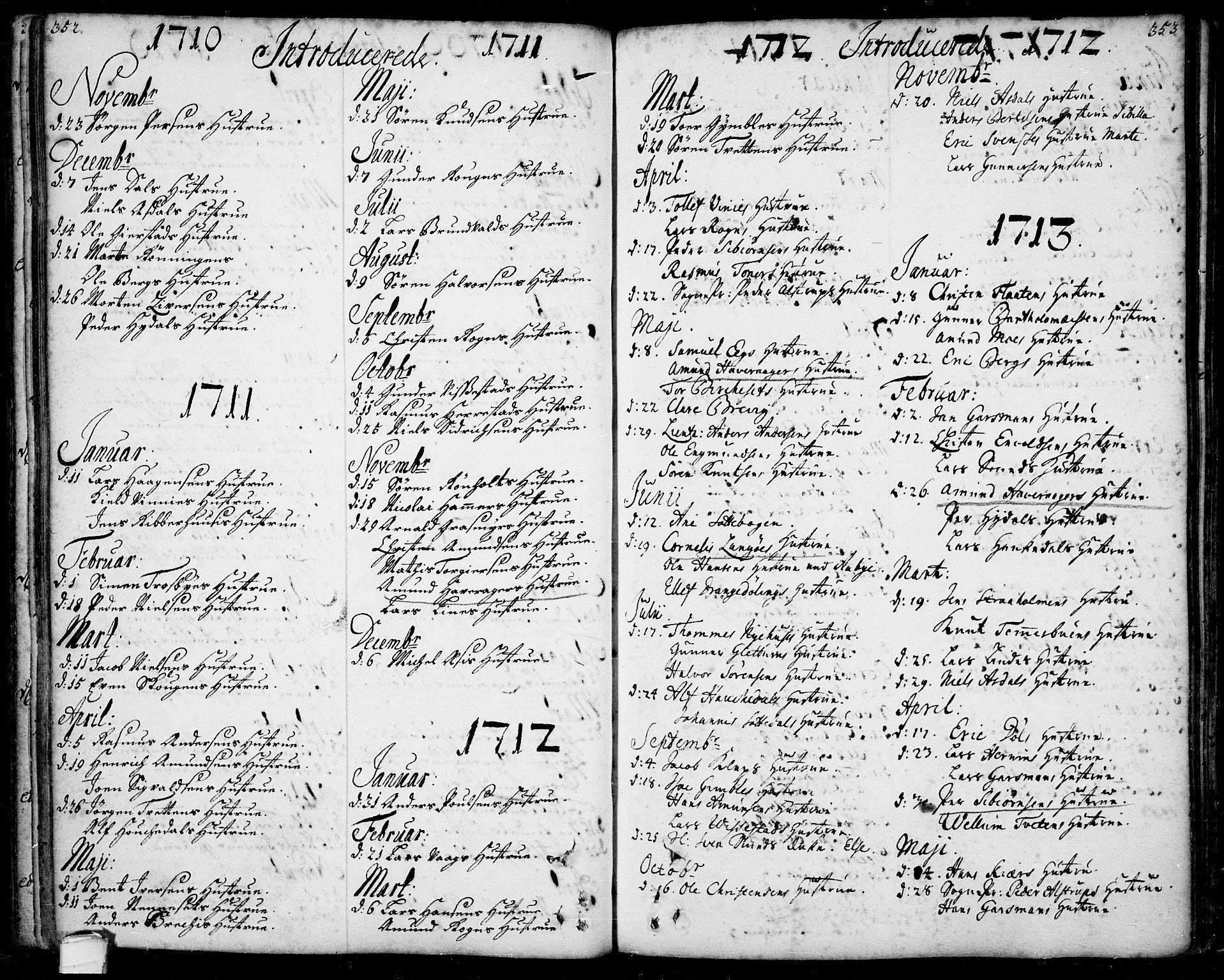 SAKO, Bamble kirkebøker, F/Fa/L0001: Ministerialbok nr. I 1, 1702-1774, s. 352-353