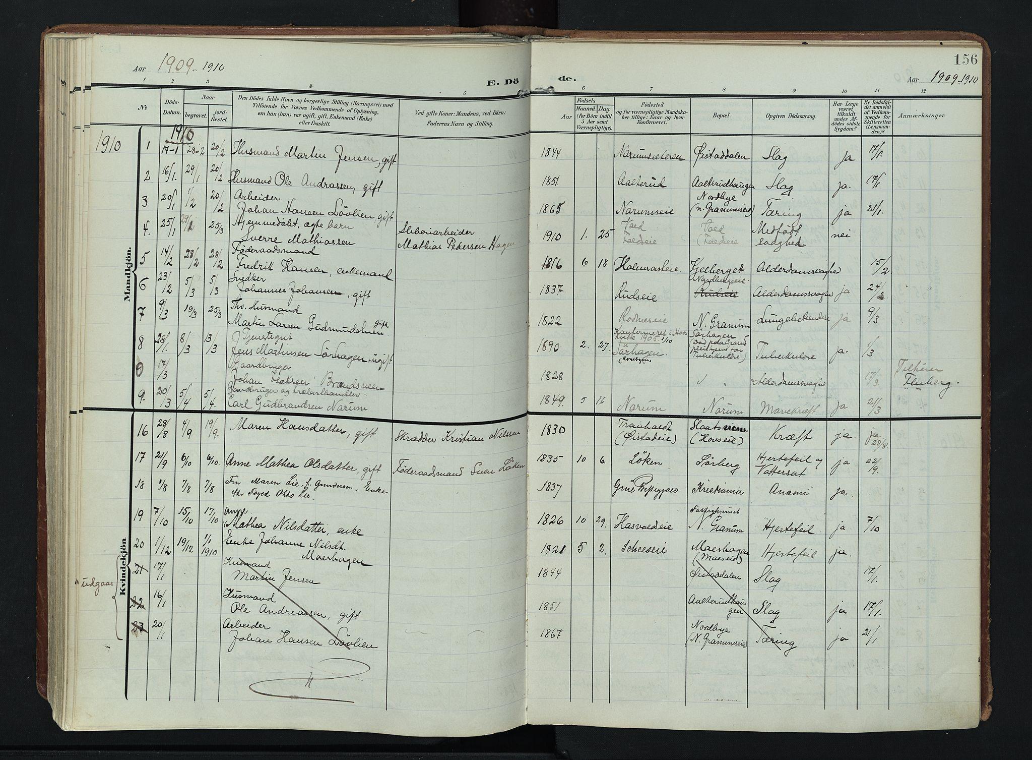 SAH, Søndre Land prestekontor, K/L0007: Ministerialbok nr. 7, 1905-1914, s. 156