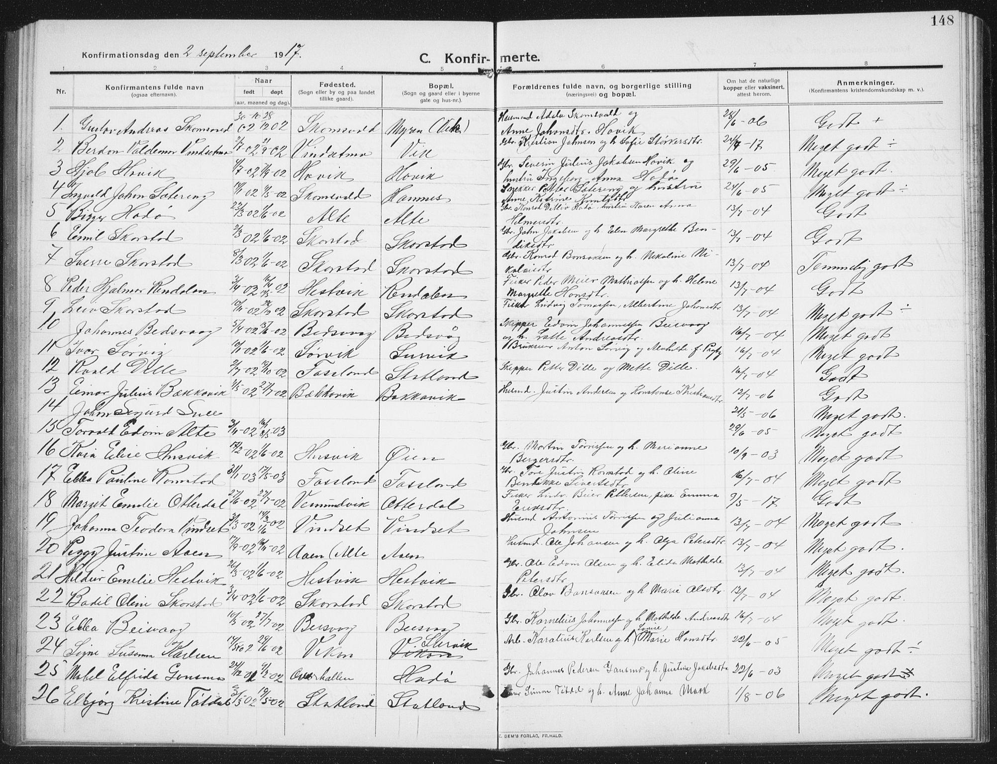 SAT, Ministerialprotokoller, klokkerbøker og fødselsregistre - Nord-Trøndelag, 774/L0630: Klokkerbok nr. 774C01, 1910-1934, s. 148