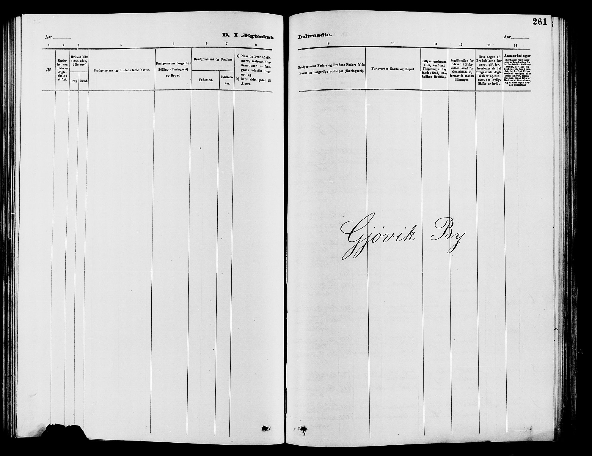 SAH, Vardal prestekontor, H/Ha/Hab/L0007: Klokkerbok nr. 7 /2, 1881-1895, s. 261