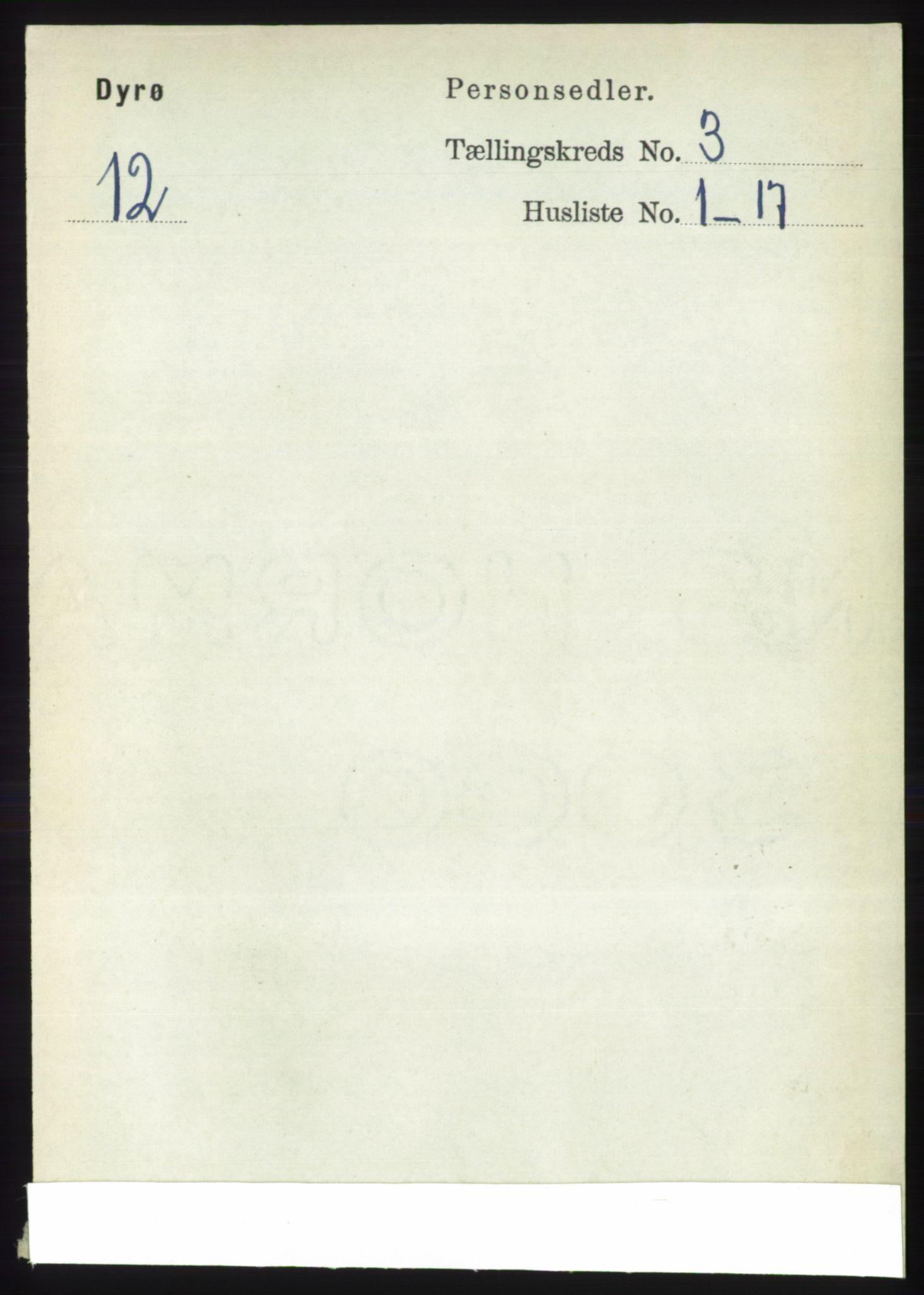 RA, Folketelling 1891 for 1926 Dyrøy herred, 1891, s. 1145