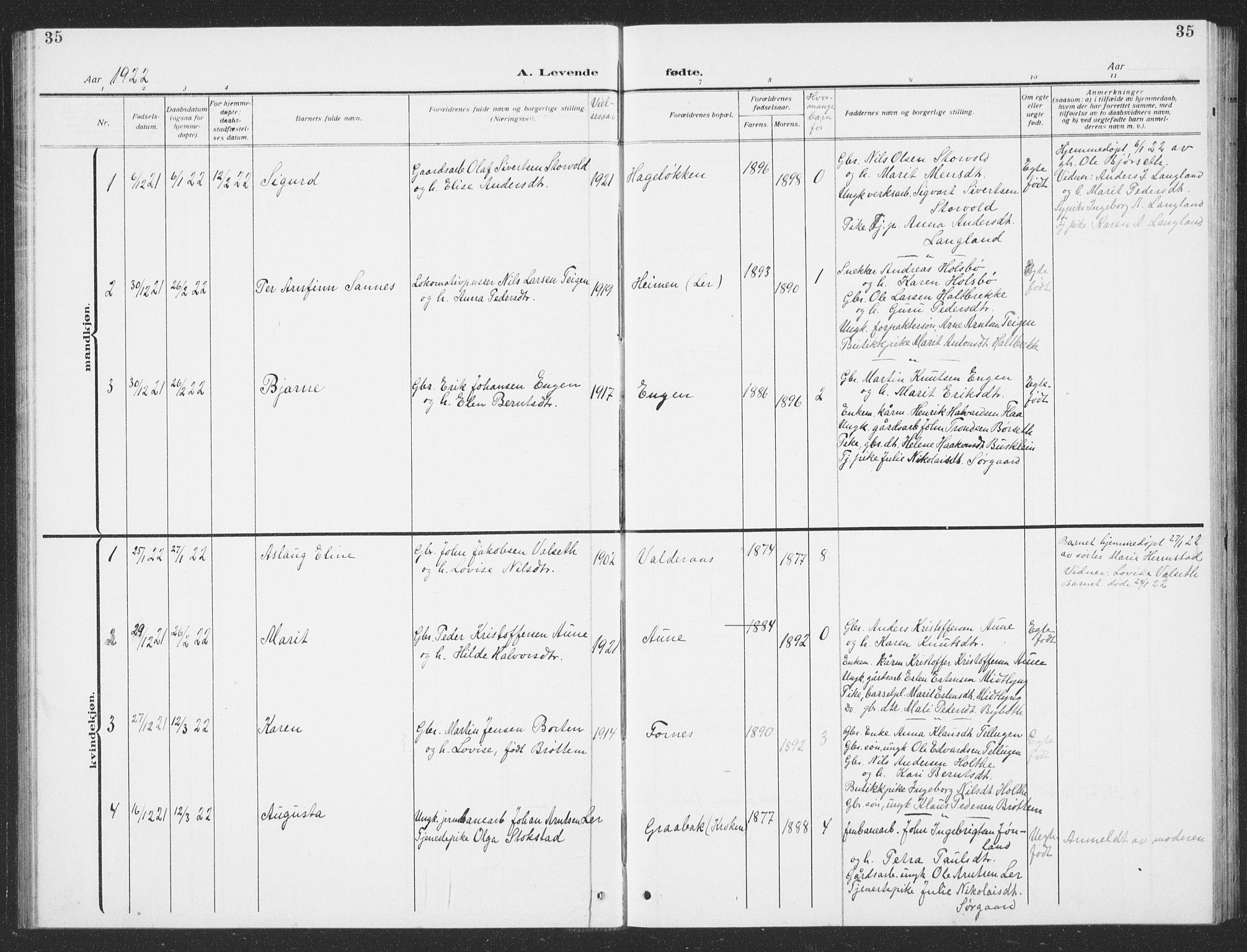 SAT, Ministerialprotokoller, klokkerbøker og fødselsregistre - Sør-Trøndelag, 693/L1124: Klokkerbok nr. 693C05, 1911-1941, s. 35